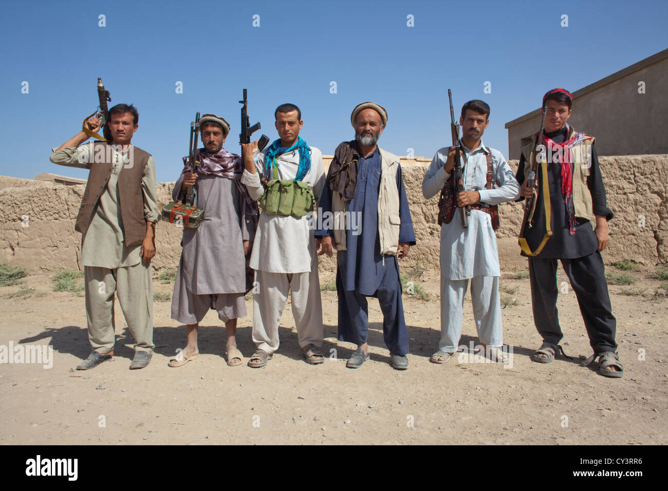 Estimated 10.000 Arbaki fighters(warlords) in Kunduz province. Stock Photo