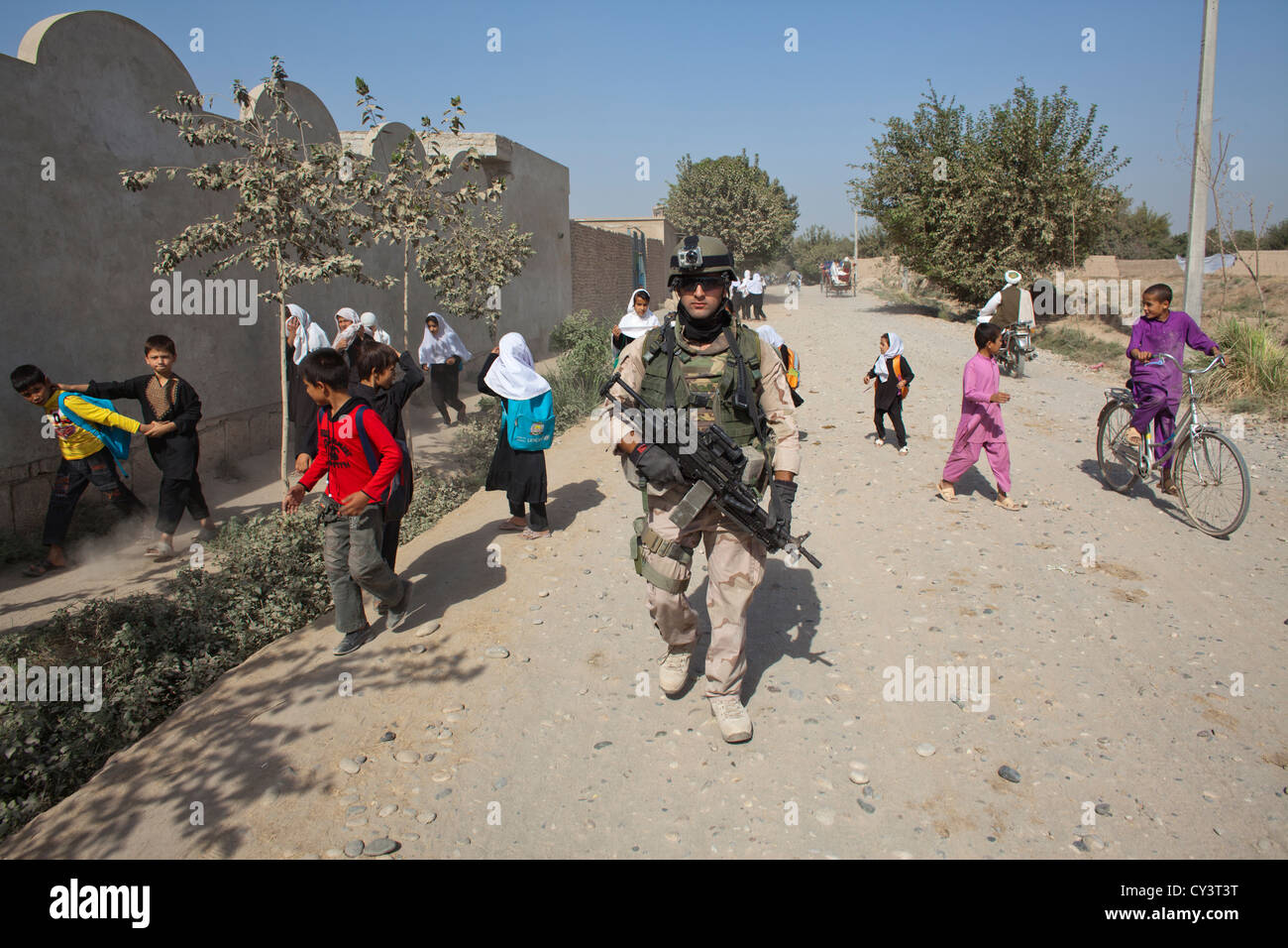 Dutch military on patrol in Kunduz province, afghanistan - Stock Image