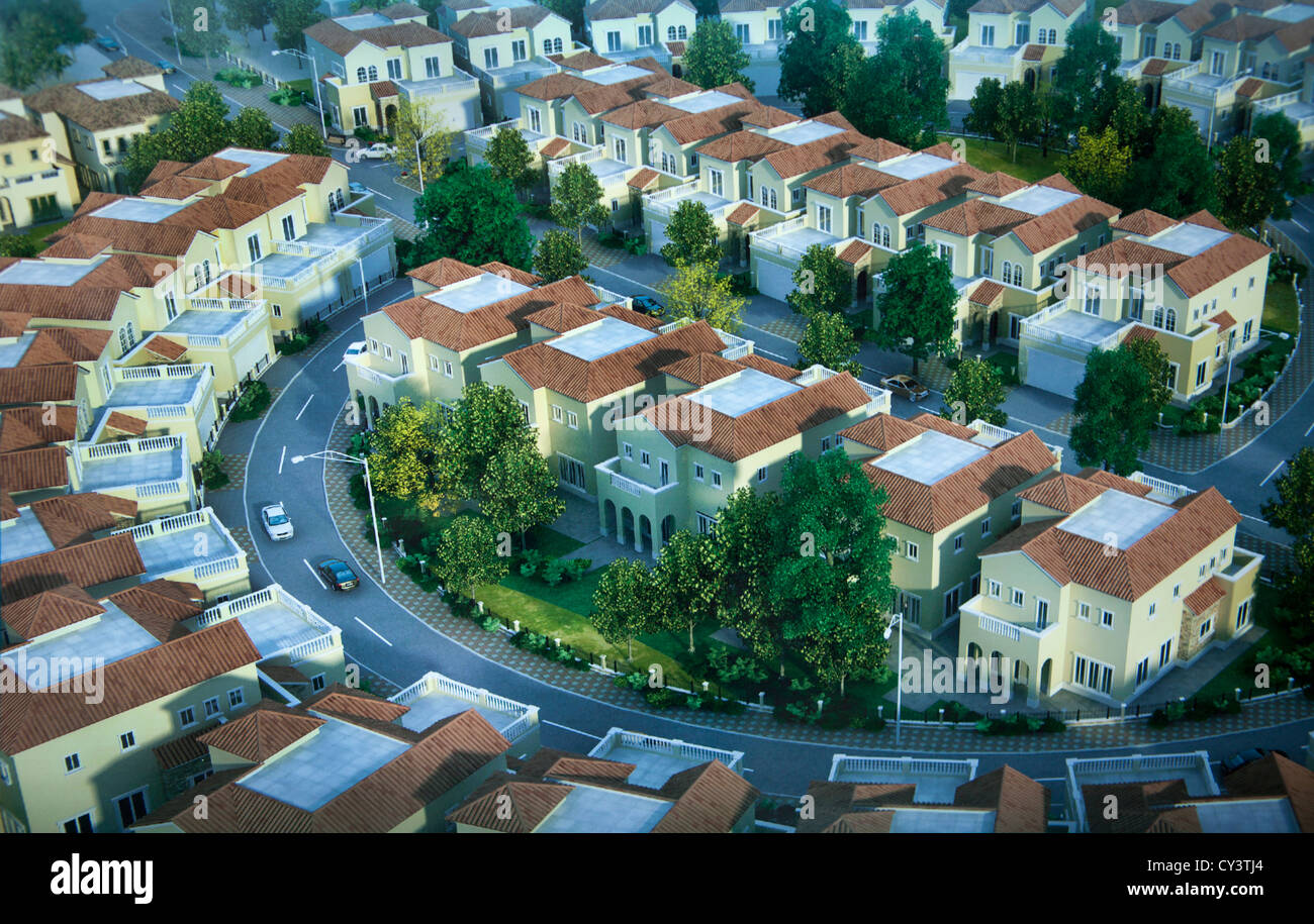 New kabul City is a an ambitious plan to expand the current city. This is an impression of new houses. - Stock Image
