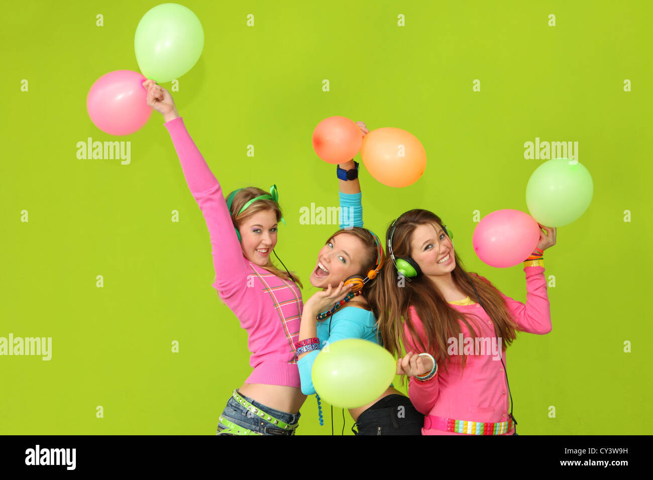 happy kids singing at party - Stock Image