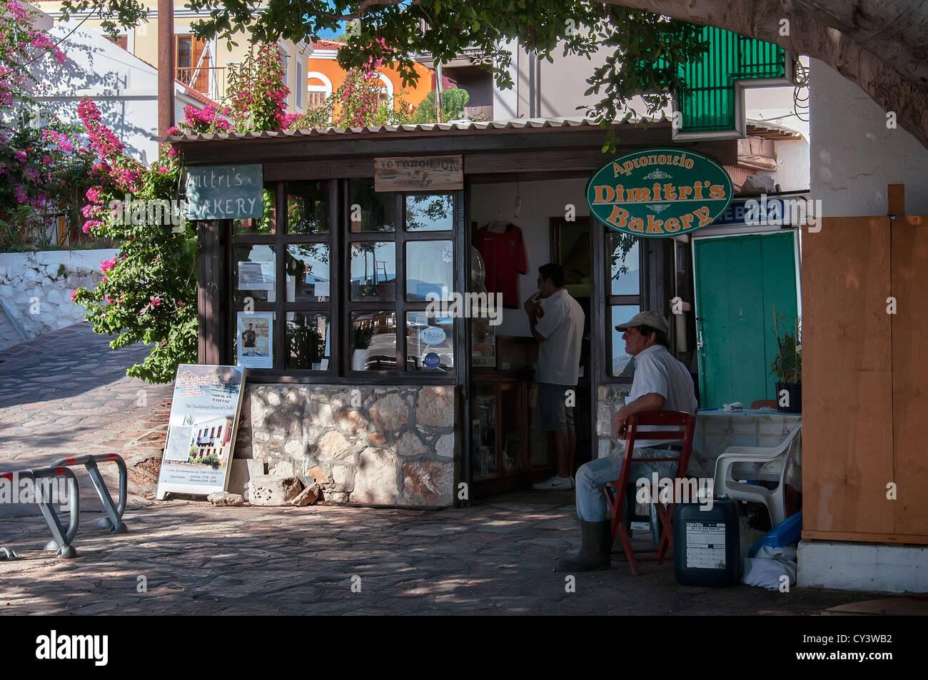 Dimitri's Bakery, Halki. - Stock Image