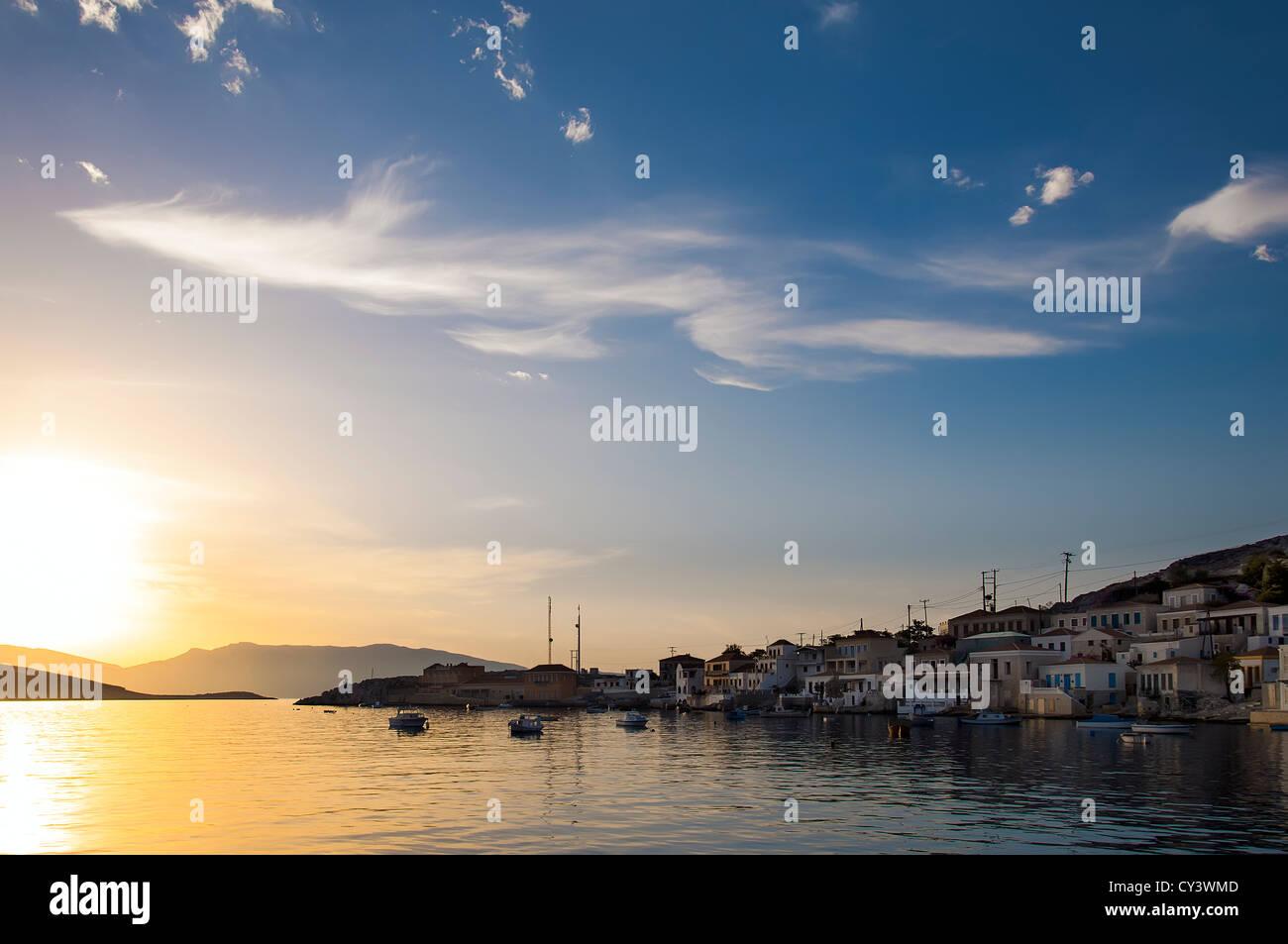 Sunrise in Halki. - Stock Image