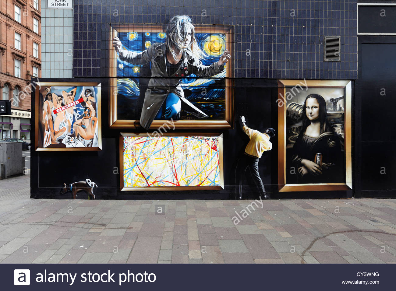 Art painted on closed shop fronts with a life size figure to promote Glasgow International Festival of Visual Art - Stock Image