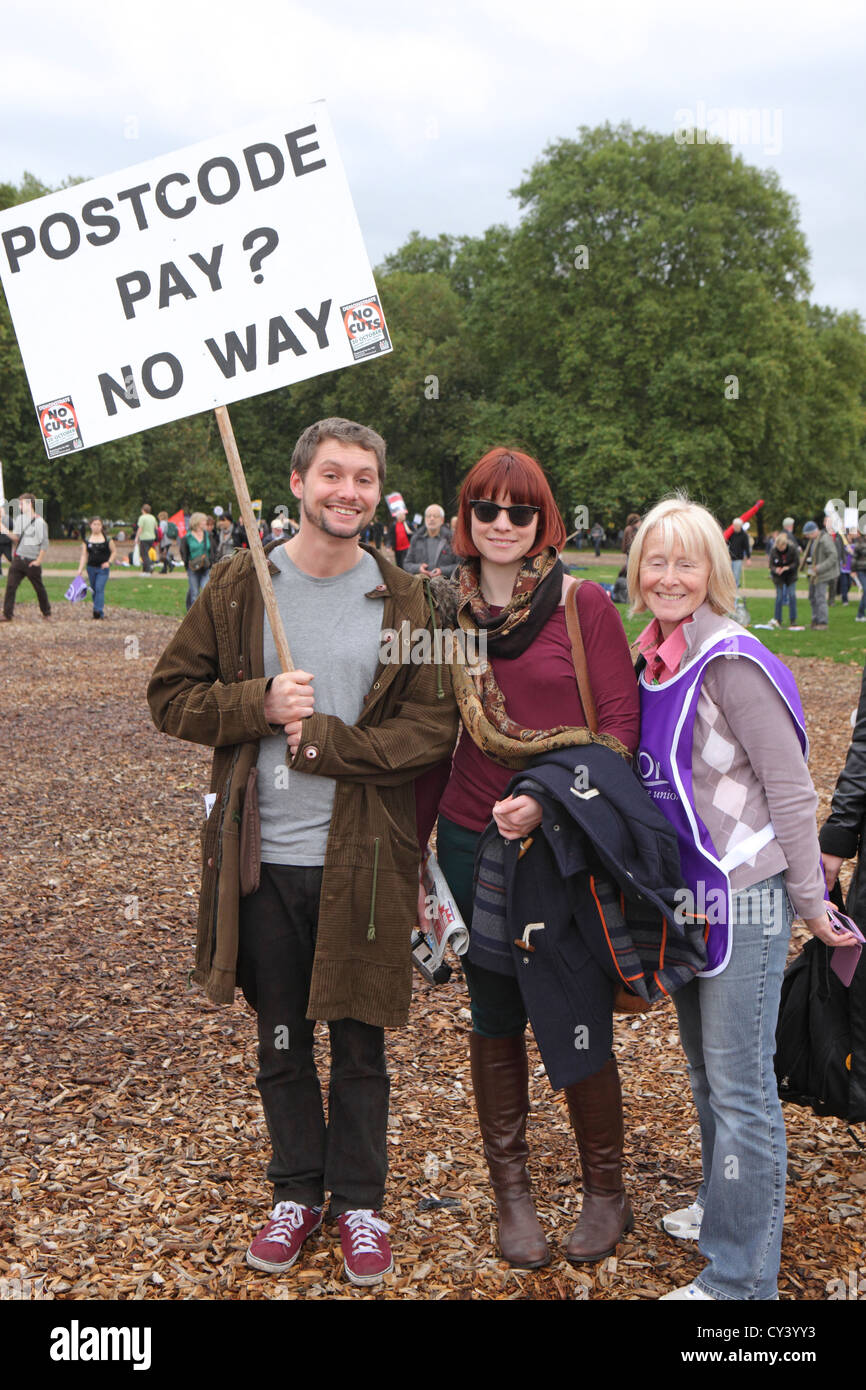 Anti-austerity and government cuts protesters A Future That Works, London. Carrying placard, Postcode Pay No Way, - Stock Image