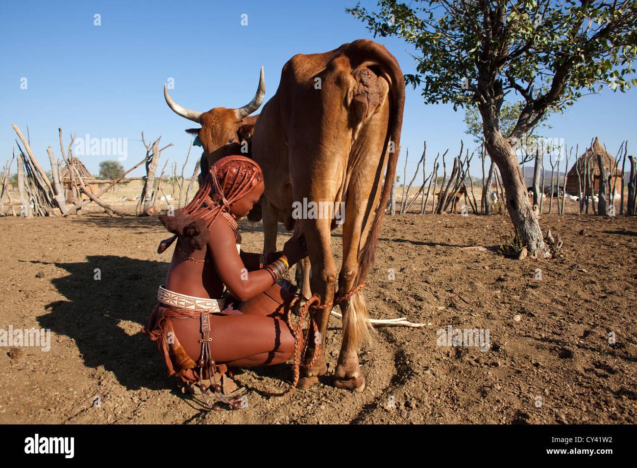 Himba tribe in Namibia. - Stock Image