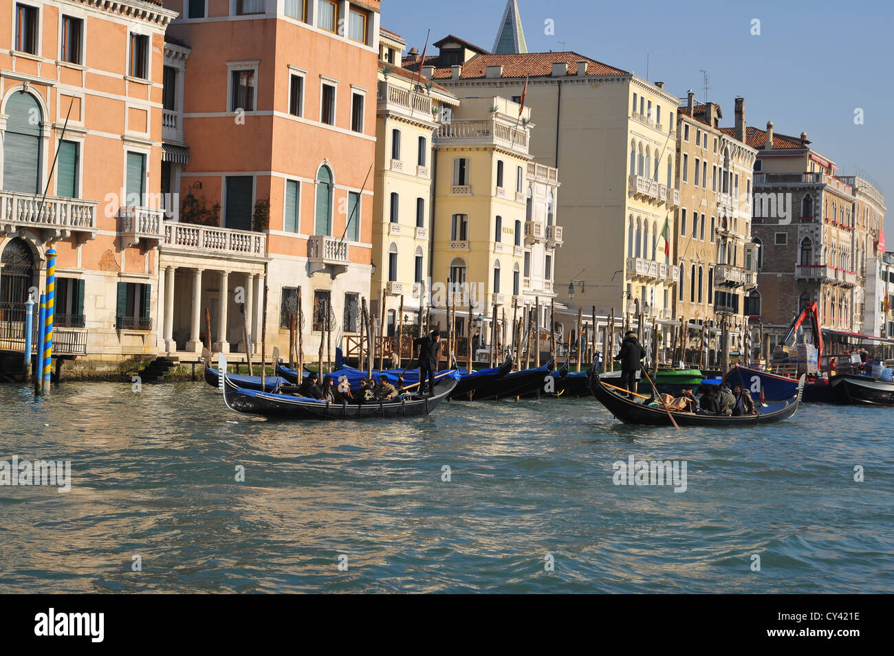 Gondolier on the Grand Canal in Venice, Italy. - Stock Image