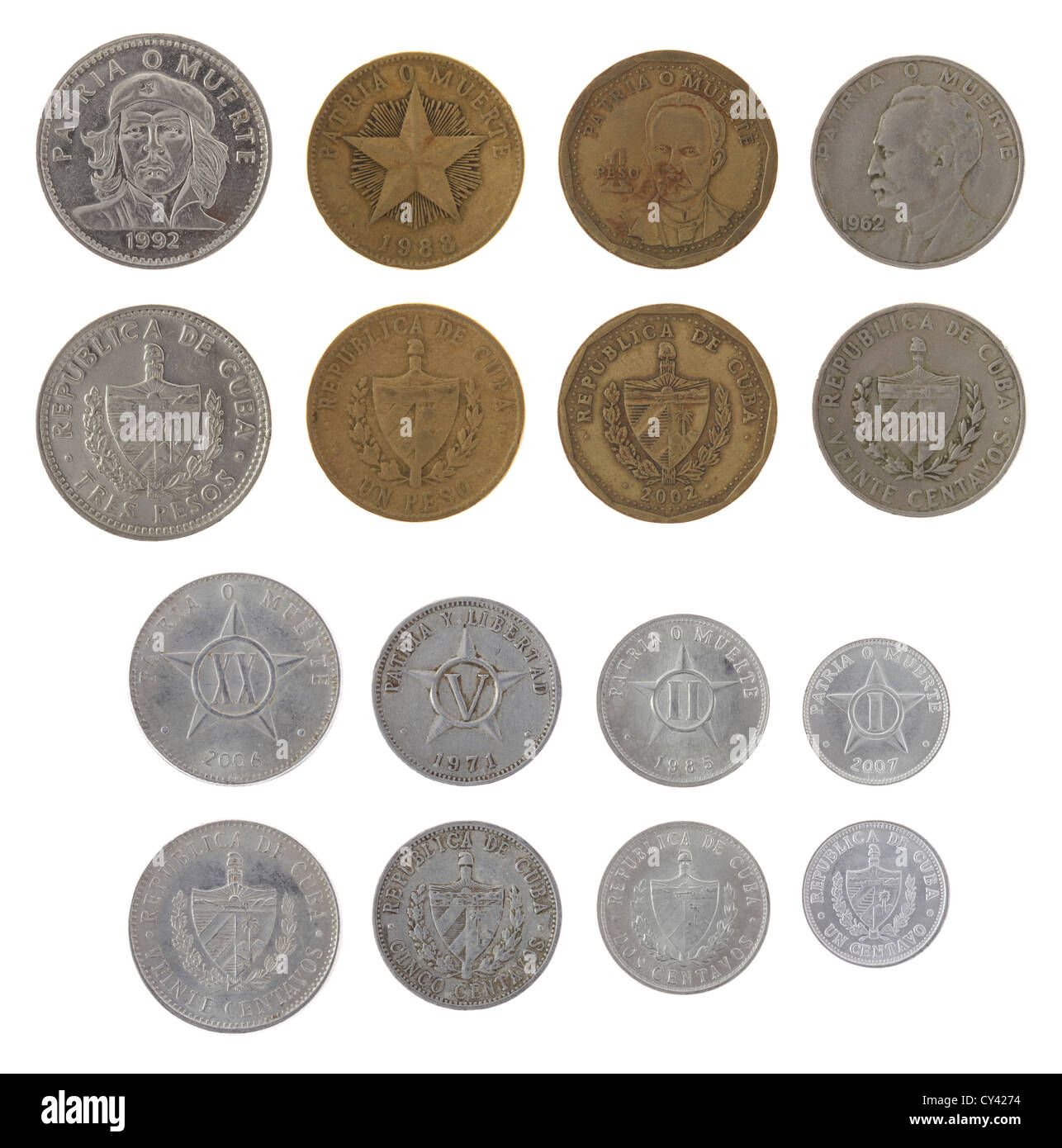 Cuban Peso Coins Isolated On White Stock Photo 51106024 Alamy