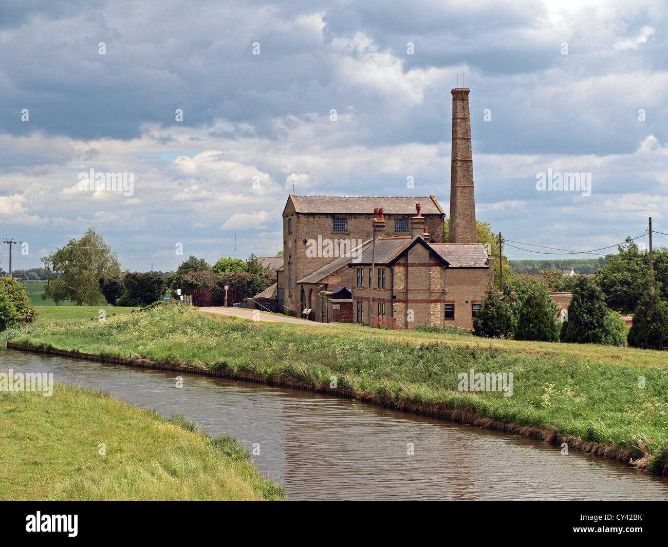 Building containing Stretham Old Engine the preserved coal powered steam fen drainage pump in Stretham Ely Cambridge Stock Photo