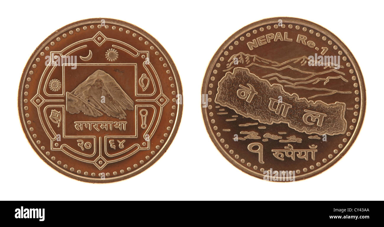 New Nepalese one rupee coin depicting Mont Everest and the map of Nepal. Obverse and reverse isolated on white. - Stock Image