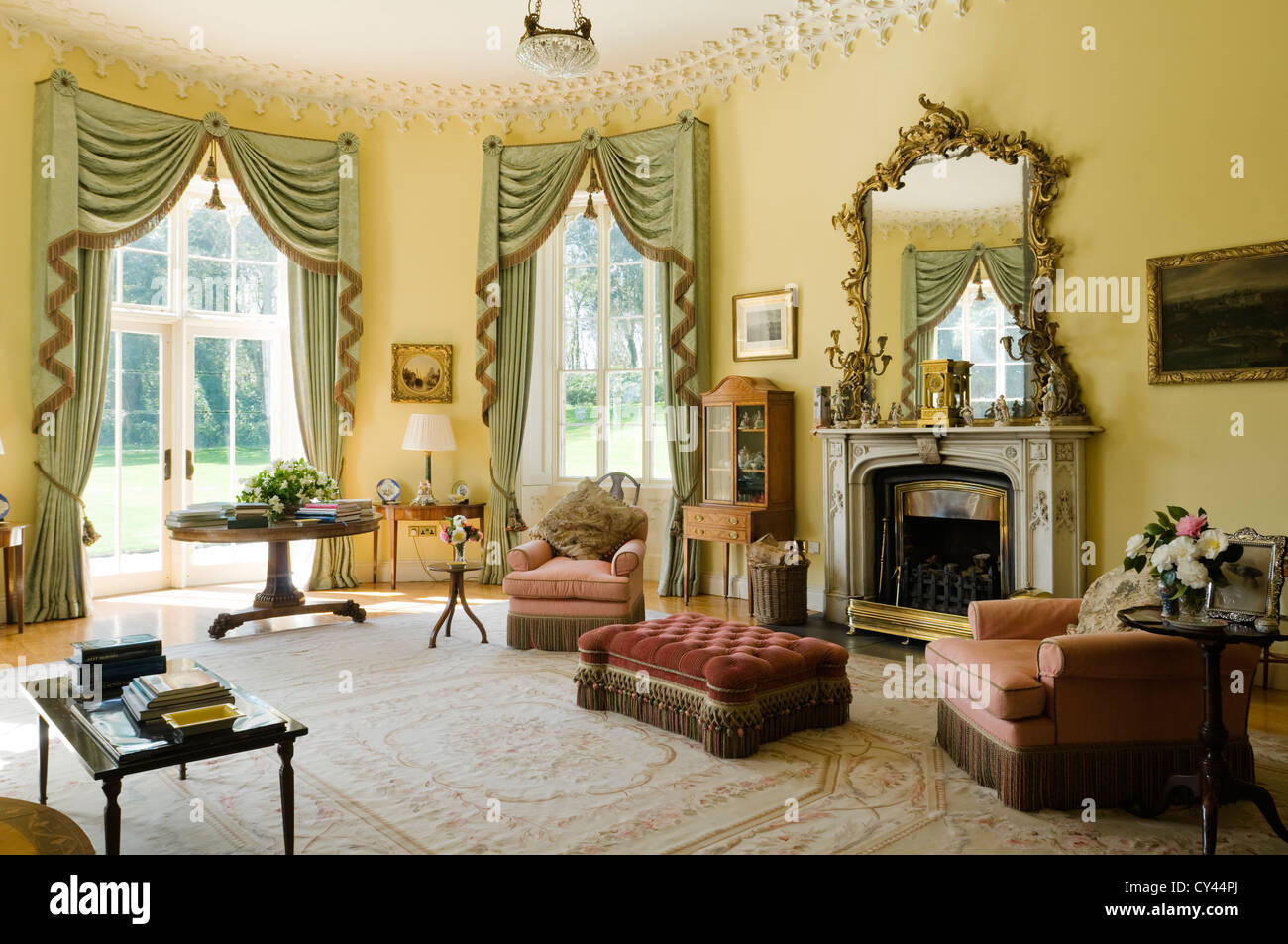 Pale Green Fringed Curtains In Yellow Drawing Room With