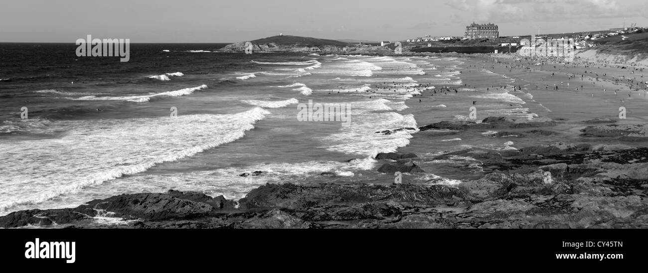 Black and white panoramic image fistral surfing beach newquay town cornwall county