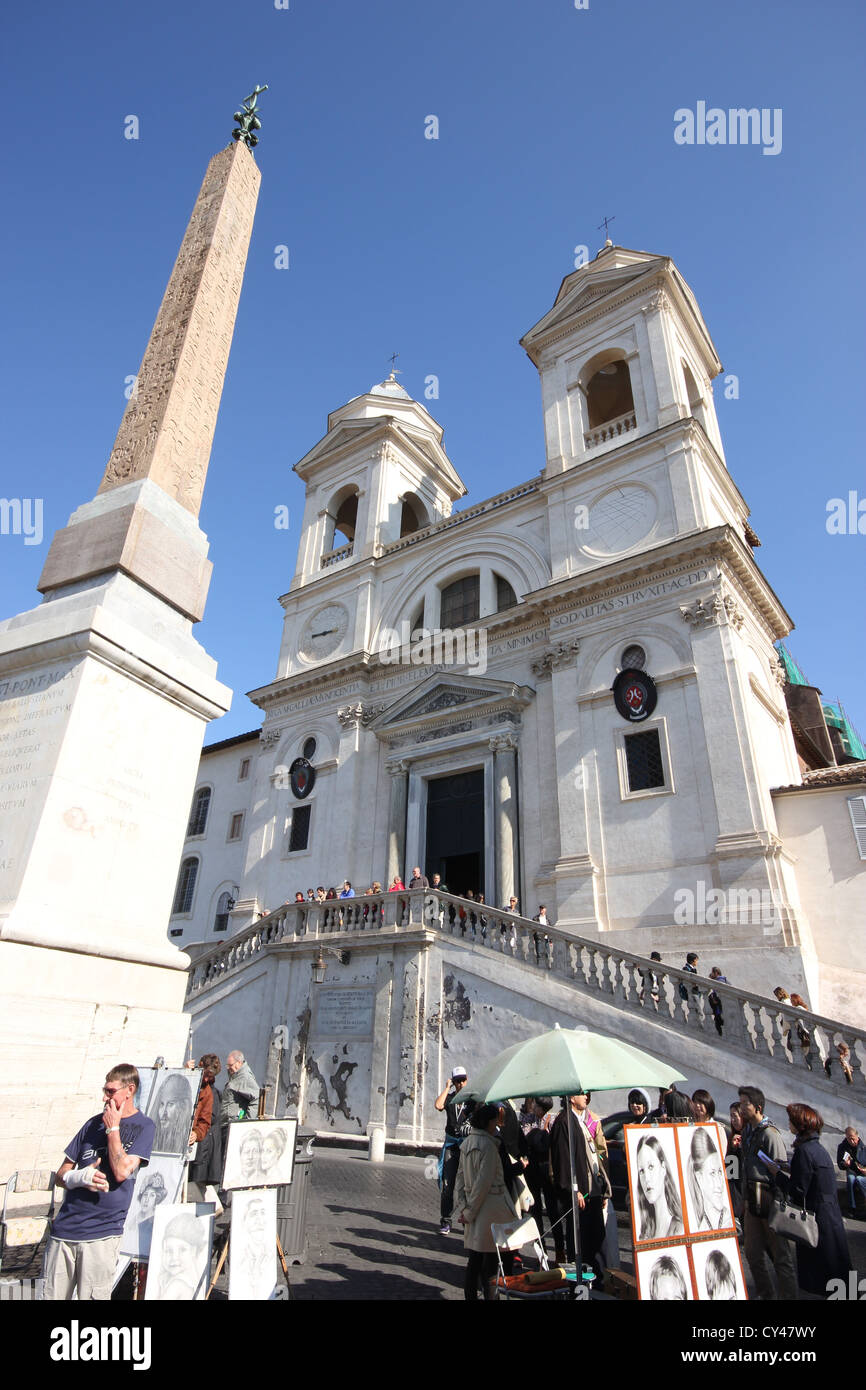 An extraordinary view of the obelisk & the Church of Trinità dei Monti, tourists, Roma, Rome, Italy, photoarkive - Stock Image