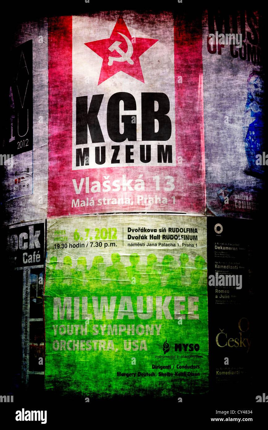 KGB Muzeum poster in Prague - Stock Image