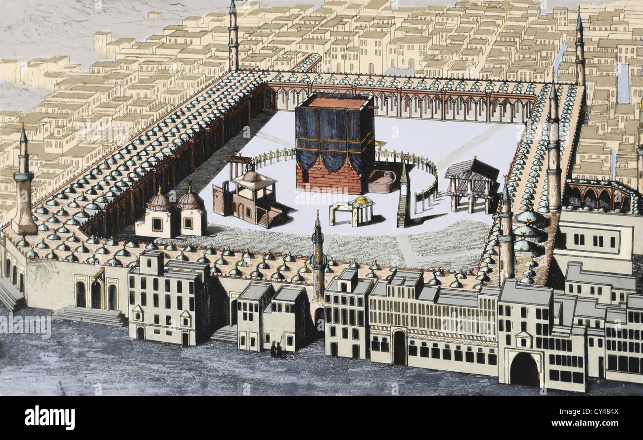 The Kaaba in Mecca, the most sacred site in Islam. Saudi Arabia. Colored engraving. 19th century. - Stock Image