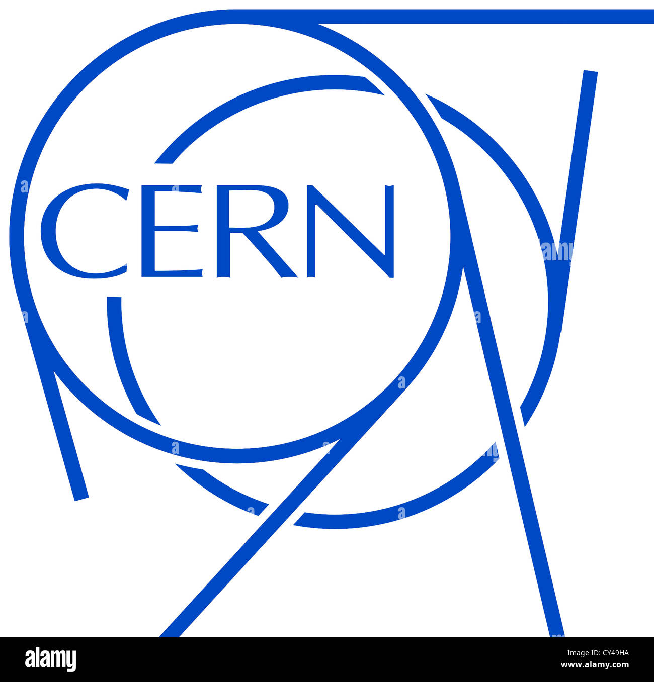 Logo of the European Organization for Nuclear Research CERN with seat in Geneva. - Stock Image