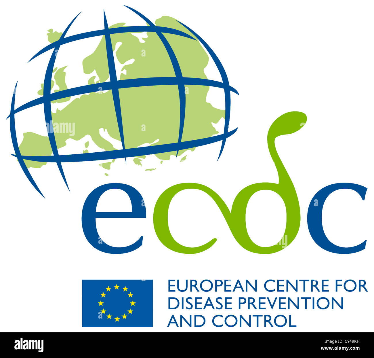 Logo of the European Centre for Disease Prevention and Control ECDC based in Solna near Stockholm. - Stock Image