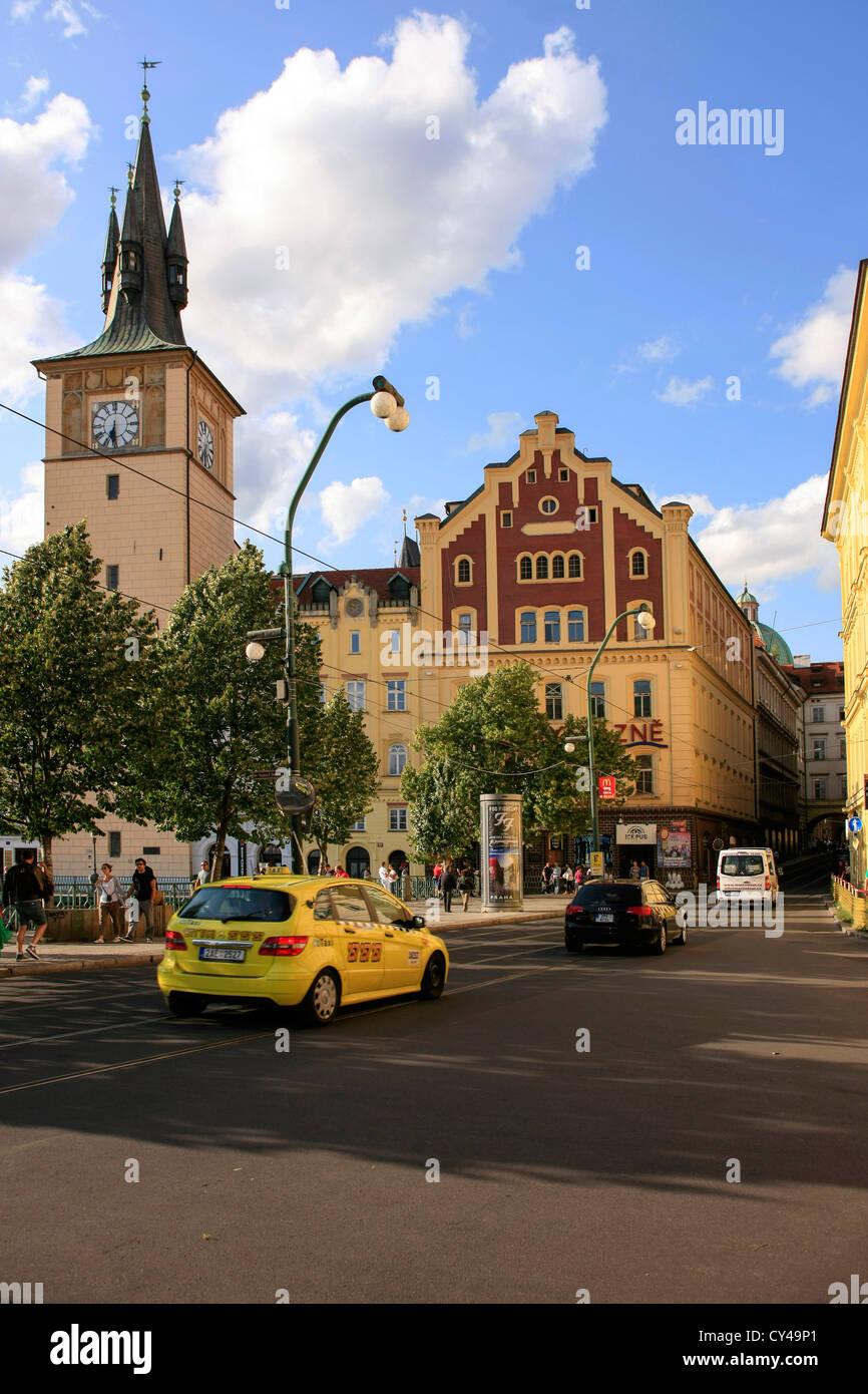 Karlovy Lazne and Lavka clock tower in Prague - Stock Image