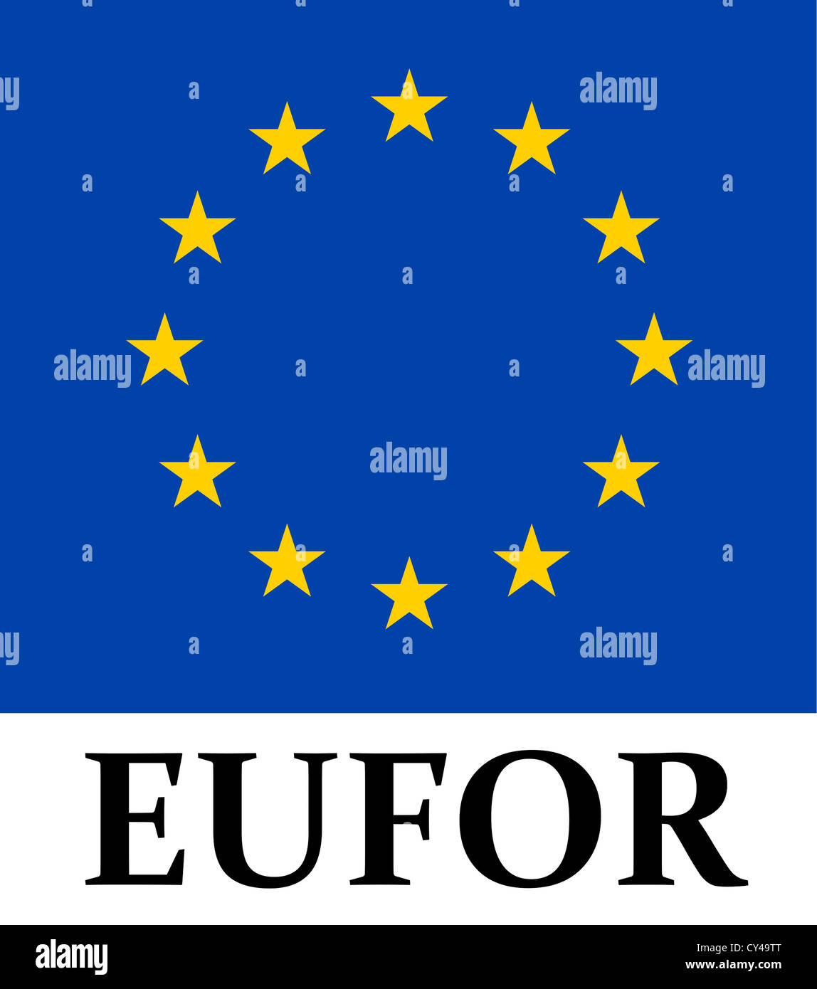 Coat of arms of the multinational armed forces associations of the European Union EUFOR - European Union Force. - Stock Image