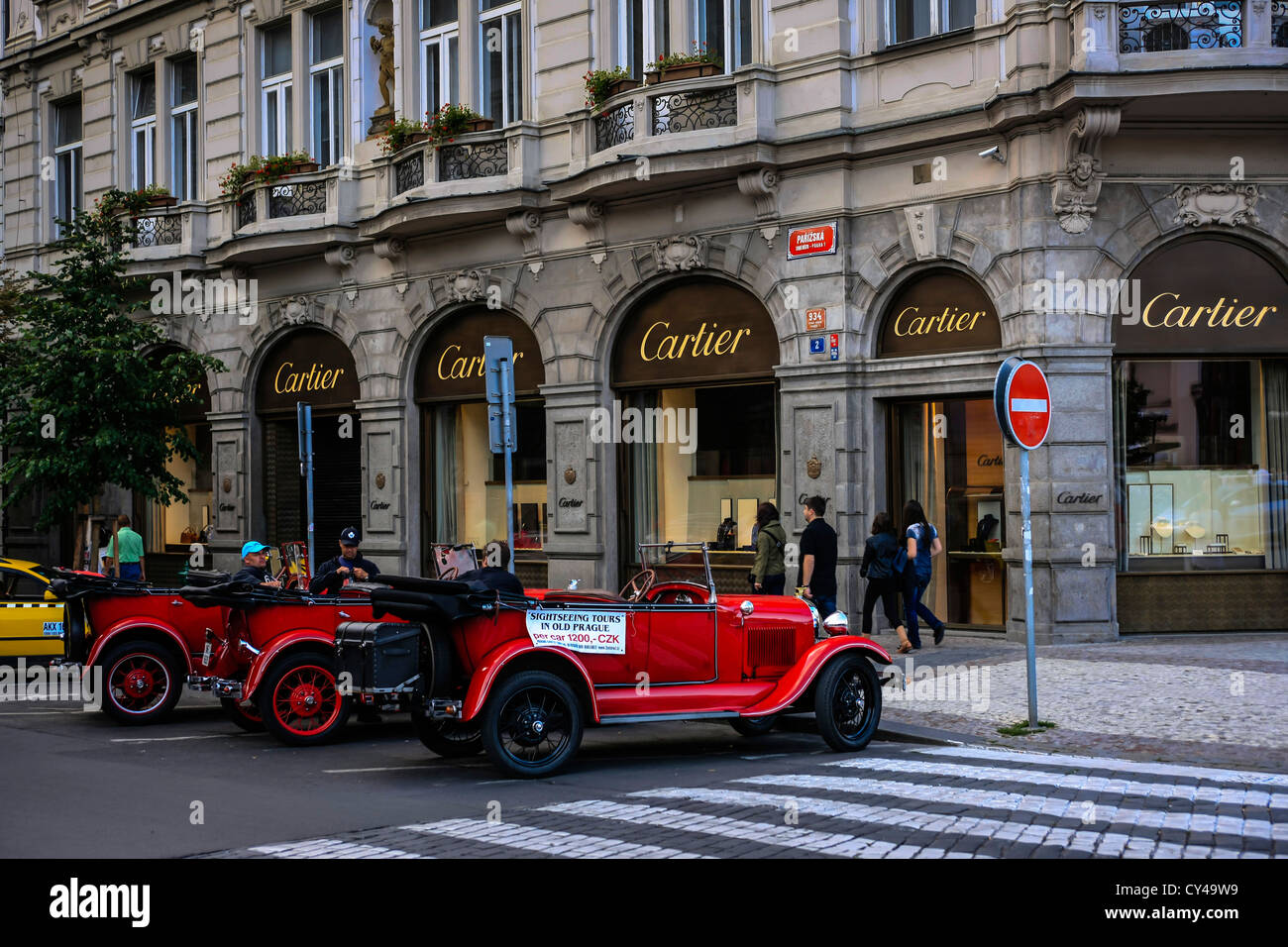 Old cars used as tourist rides in Prague Stock Photo: 51112021 - Alamy