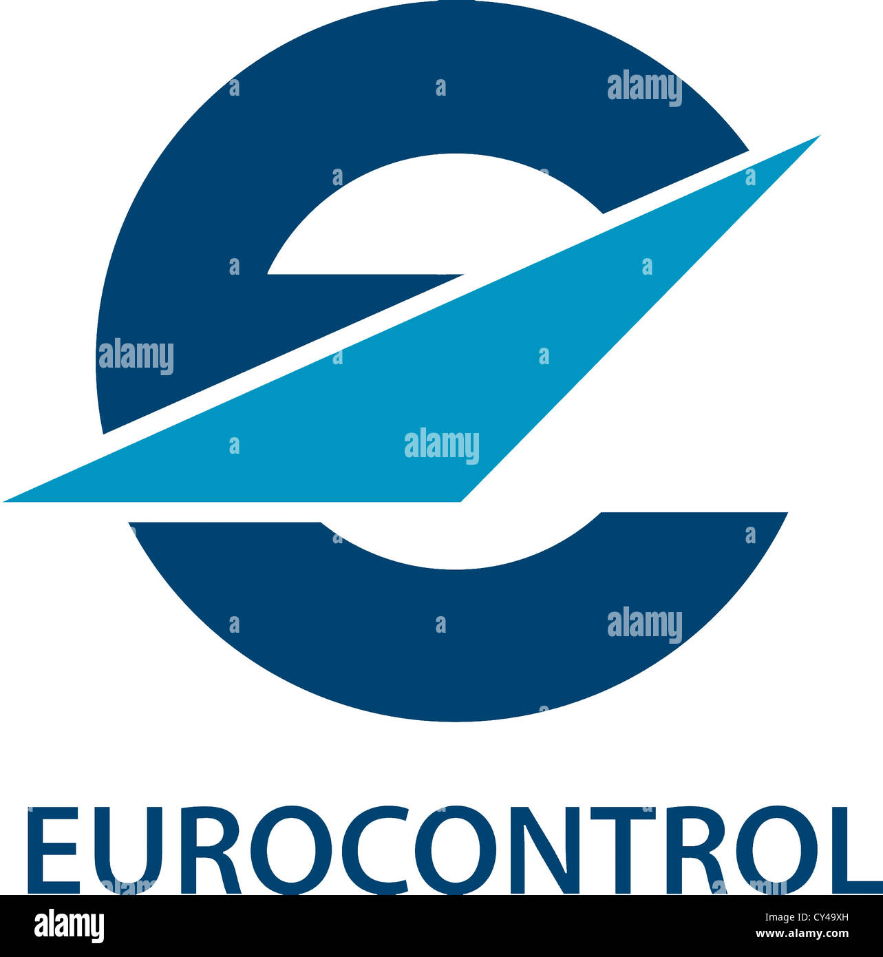 Logo of the European Organiziation for the Safety of Air Navigation Eurocontrol with seat in Brussels. Stock Photo