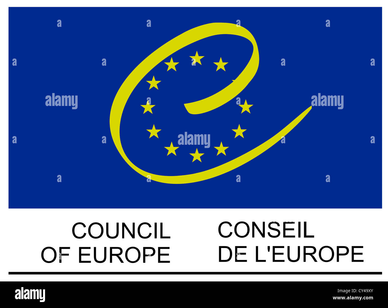 Logo of the Council of Europe based in Strasbourg. - Stock Image