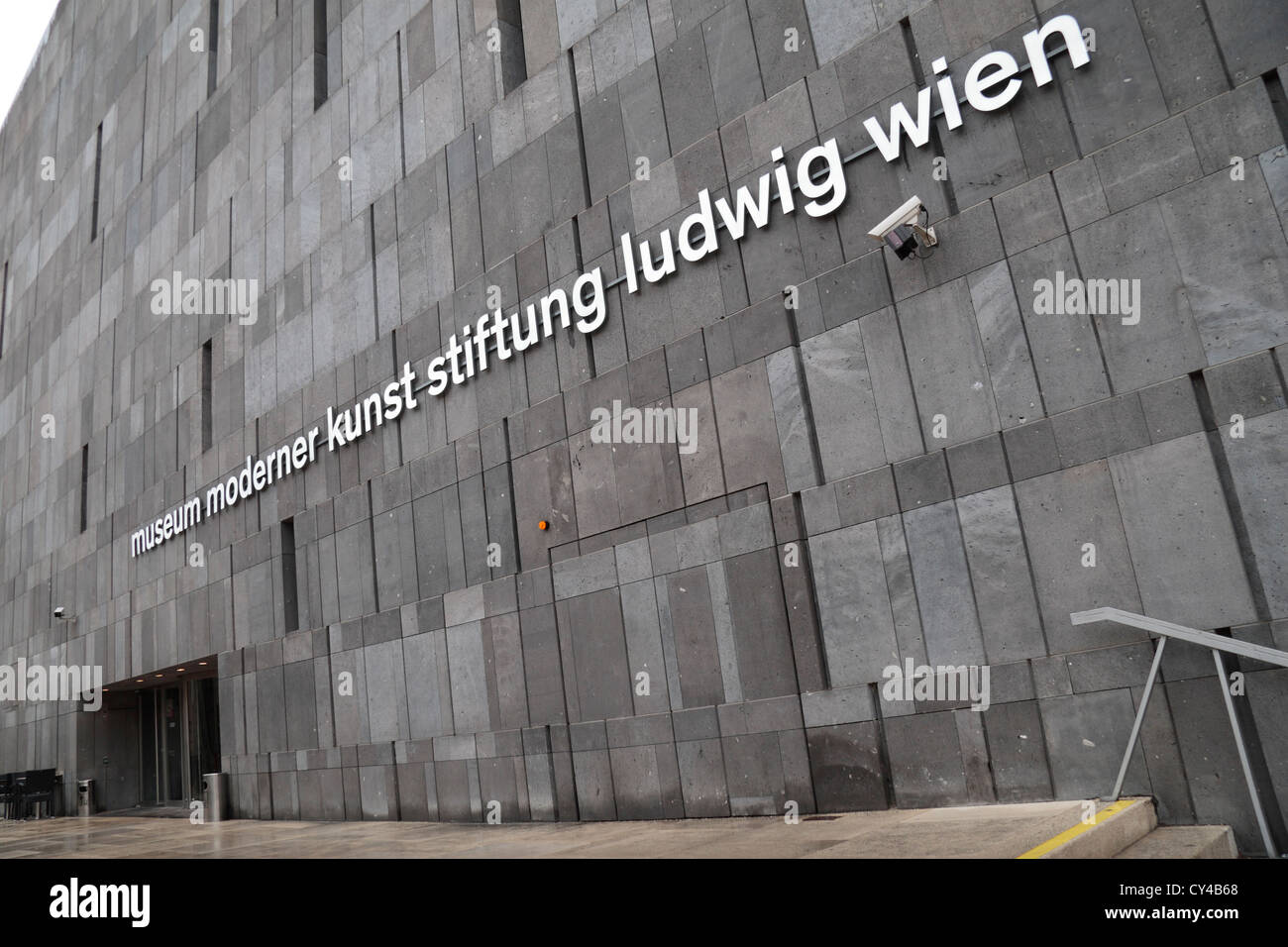 Main entrance to the Museum Moderner Kunst Stiftung Ludwig Wien (Modern Arts Museum or MUMOK) in Vienna, Austria. - Stock Image