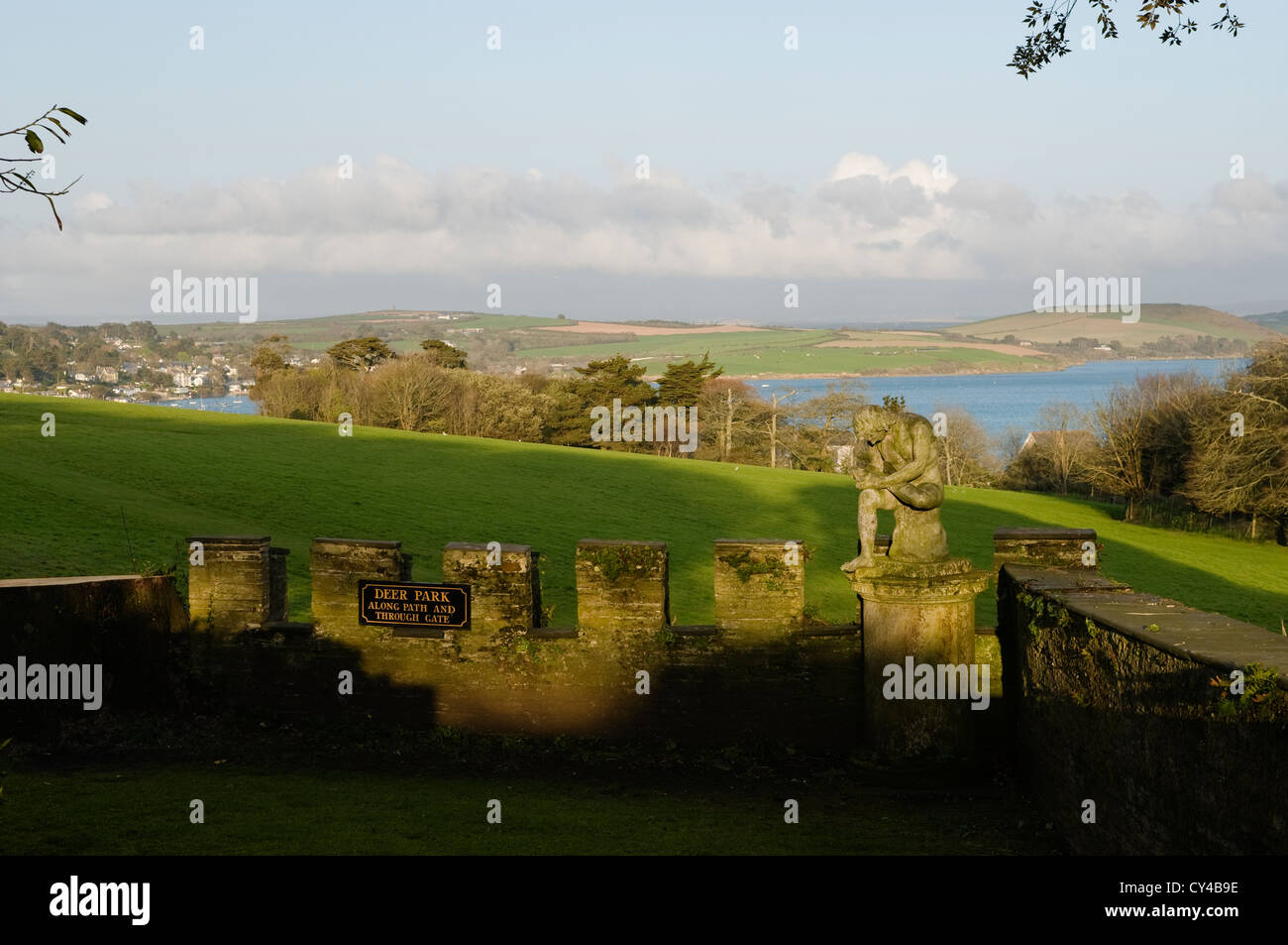 Merlons and crenels along a defensive wall at Prideaux Place overlooking the Cornish coastline - Stock Image