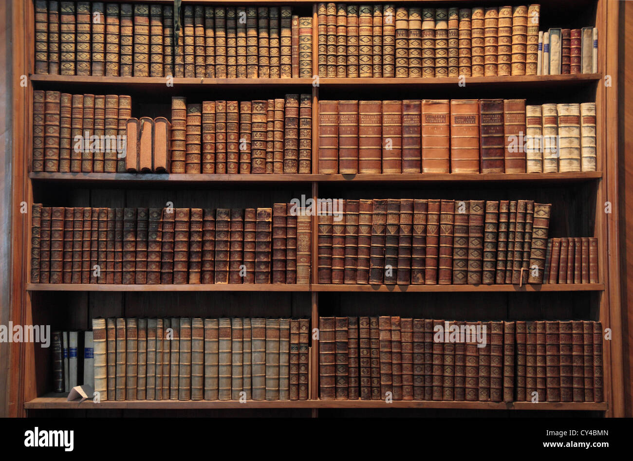 Book case in the Prunksaal Nationalbibliothek (Austrian National Library), Hofburg Palace, Vienna, Austria. - Stock Image