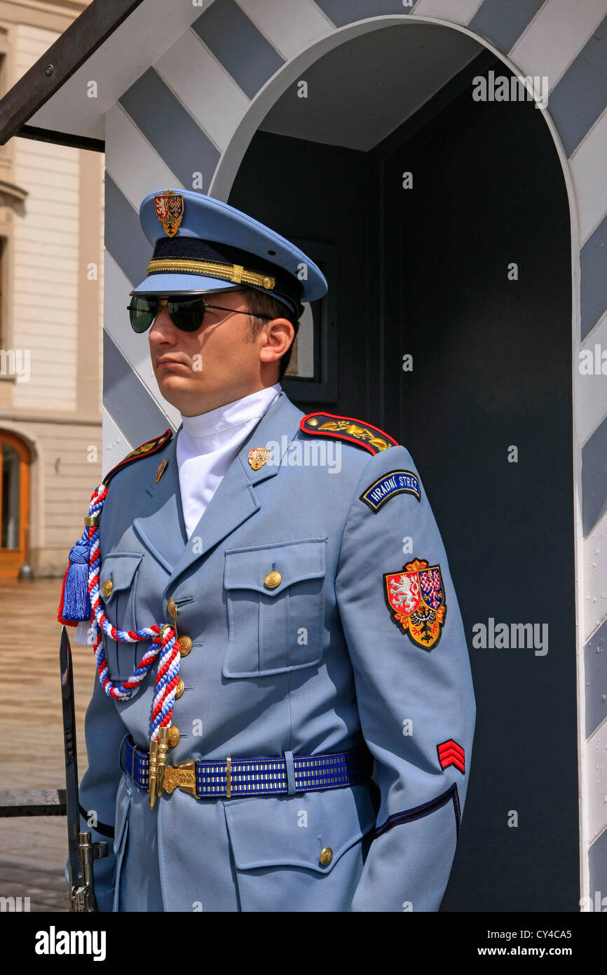 A member of the Czech Royal Guard on duty outside the Castle in Prague - Stock Image