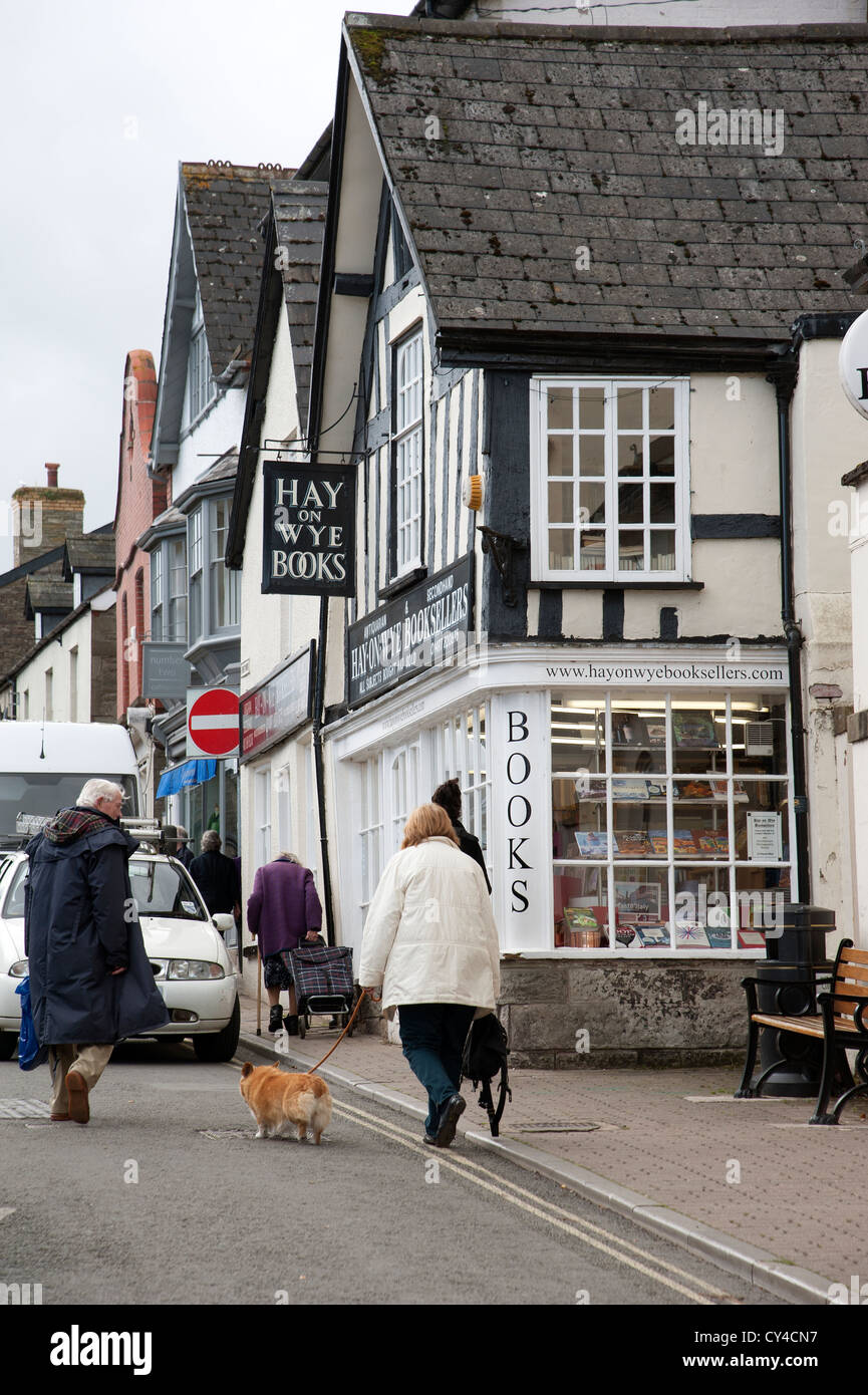 Hay on Wye Books Powys Wales a centre of town booksellers shop - Stock Image