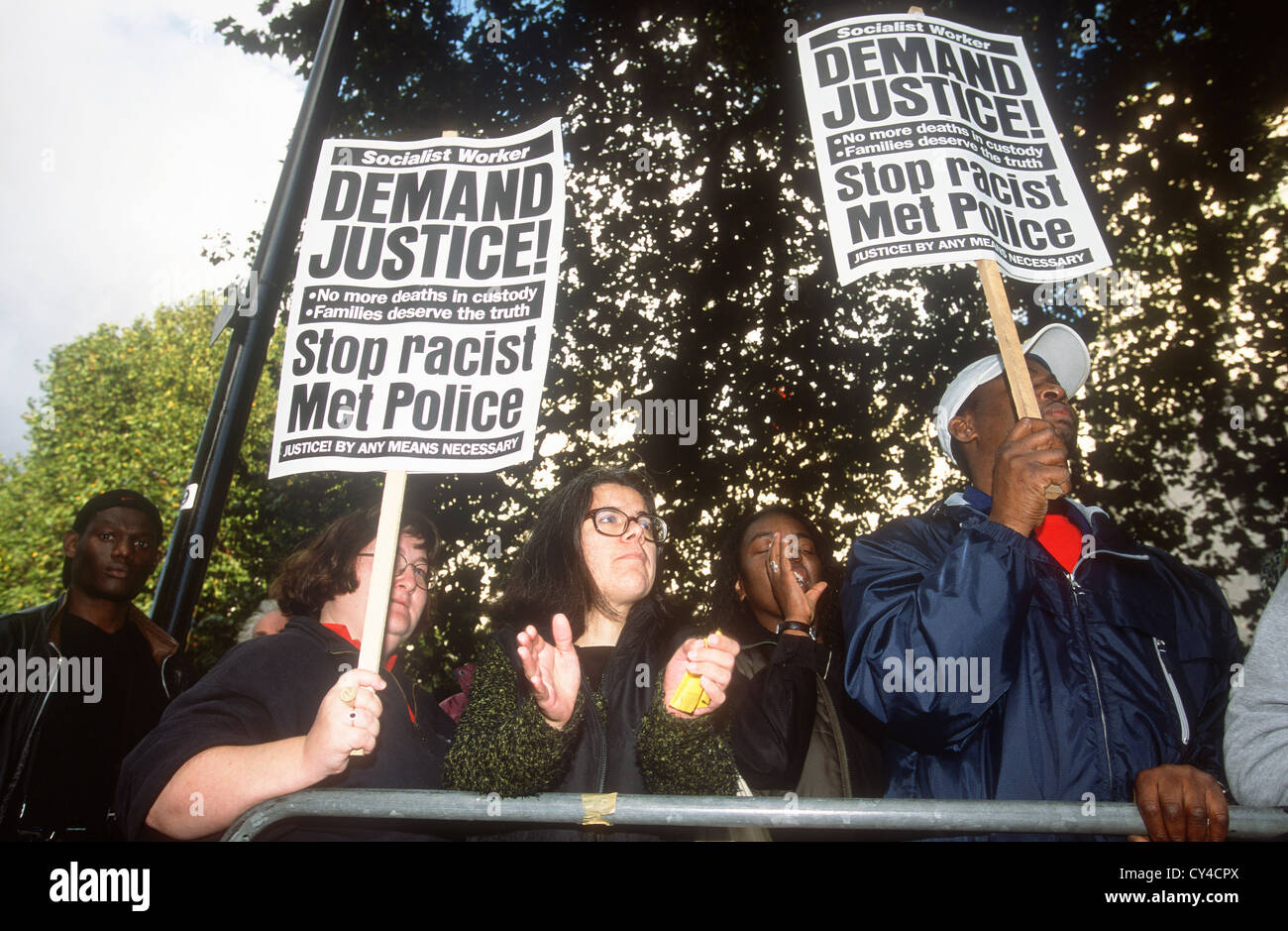 Procession in memory of those people who have died in police custody, prison or psychiatric hospitals, London 2001, - Stock Image