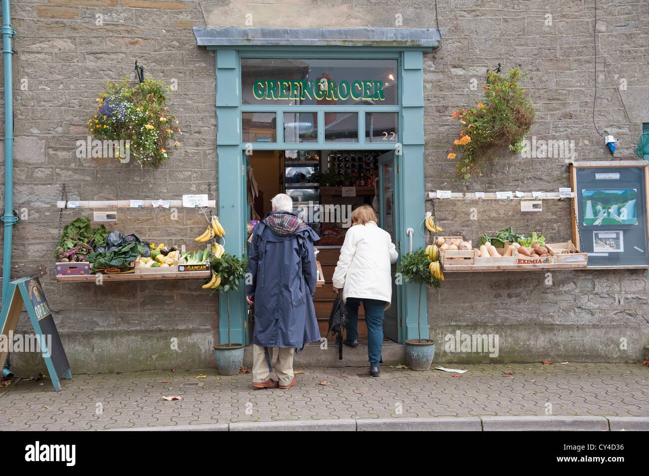 Greengrocers shop at Hay on Wye Powys Wales UK - Stock Image