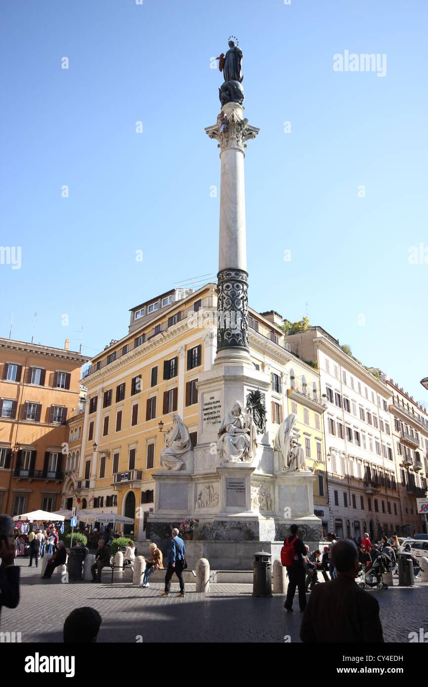 a view of the Palazzo di Propaganda Fide e colonna dell'Immacolata Concezione, Roma, rome, Rome, photoarkive - Stock Image