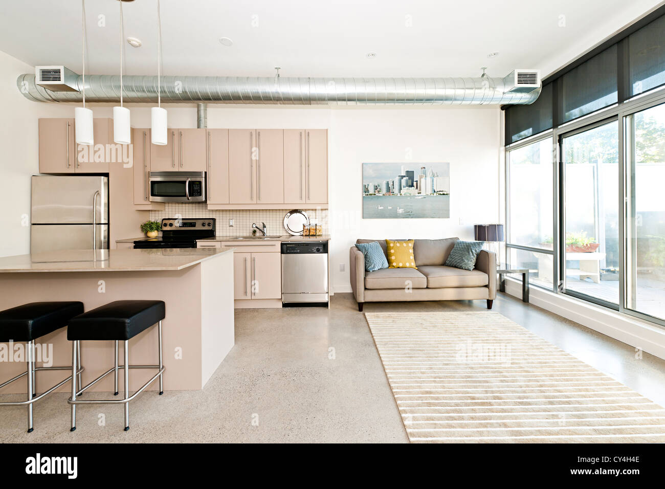 Kitchen and living room of loft apartment - artwork from ...