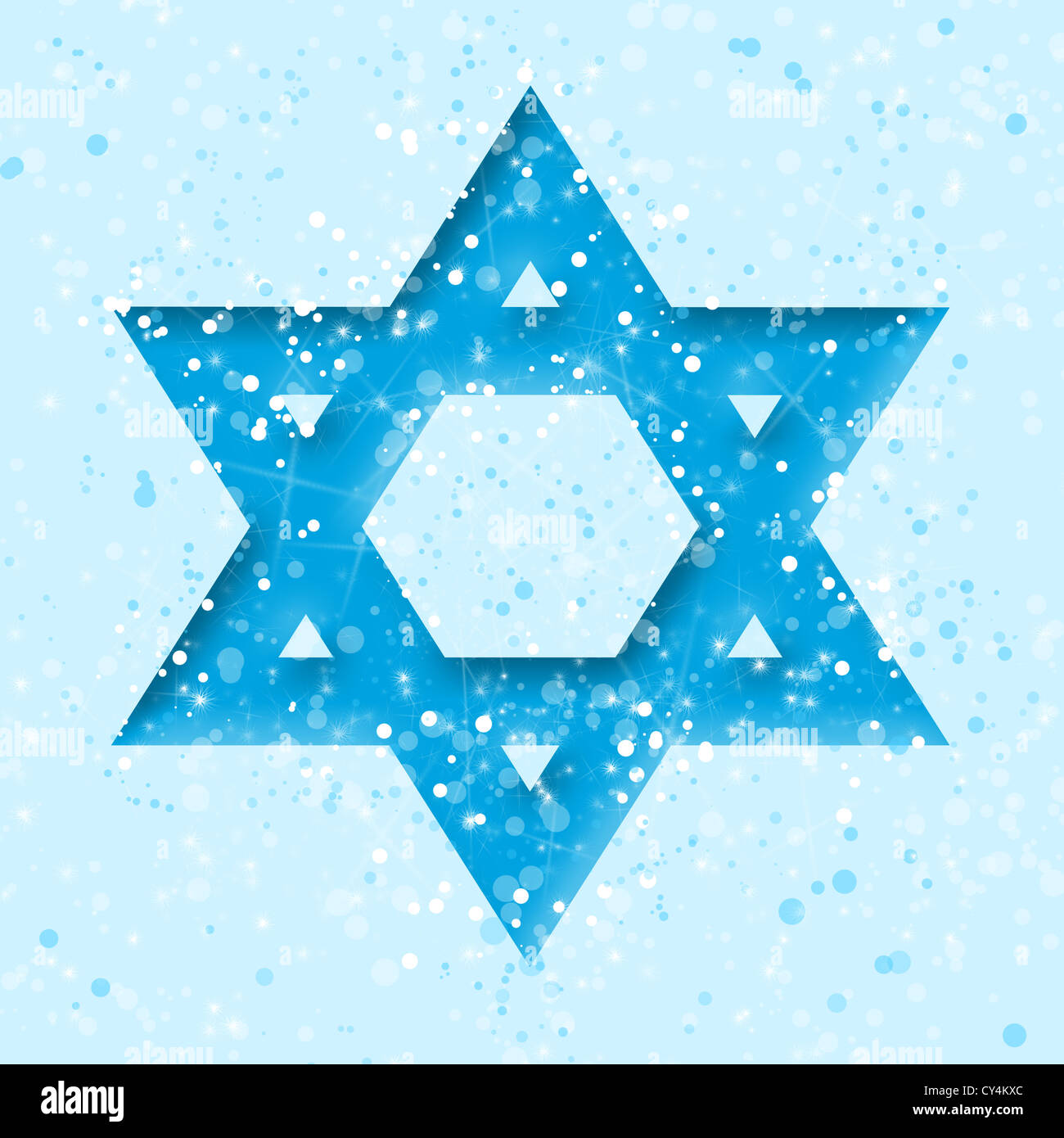 Star of David on blue - Stock Image