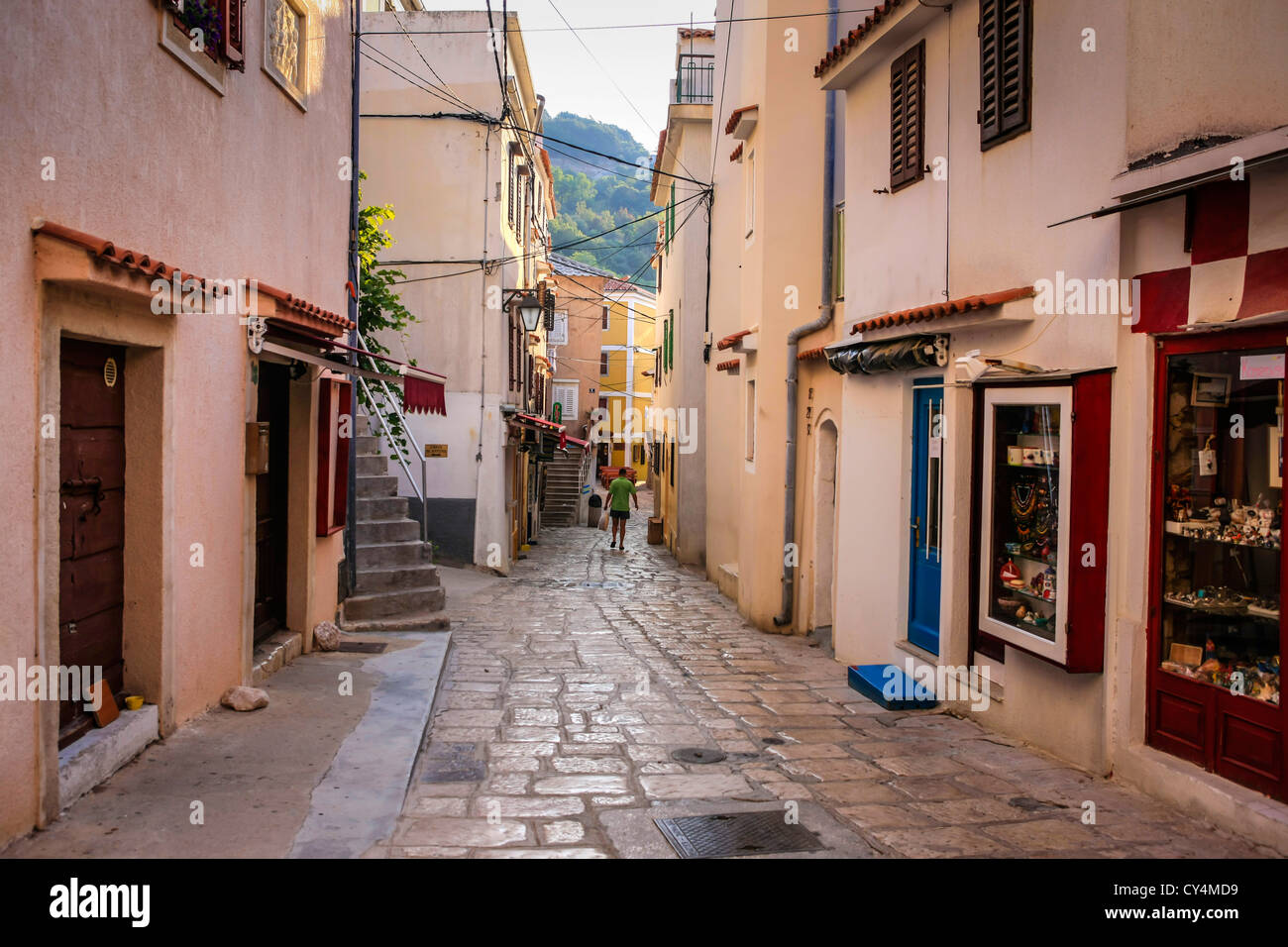 The narrow streets and building of Baska village on the island of Krk Croatia - Stock Image
