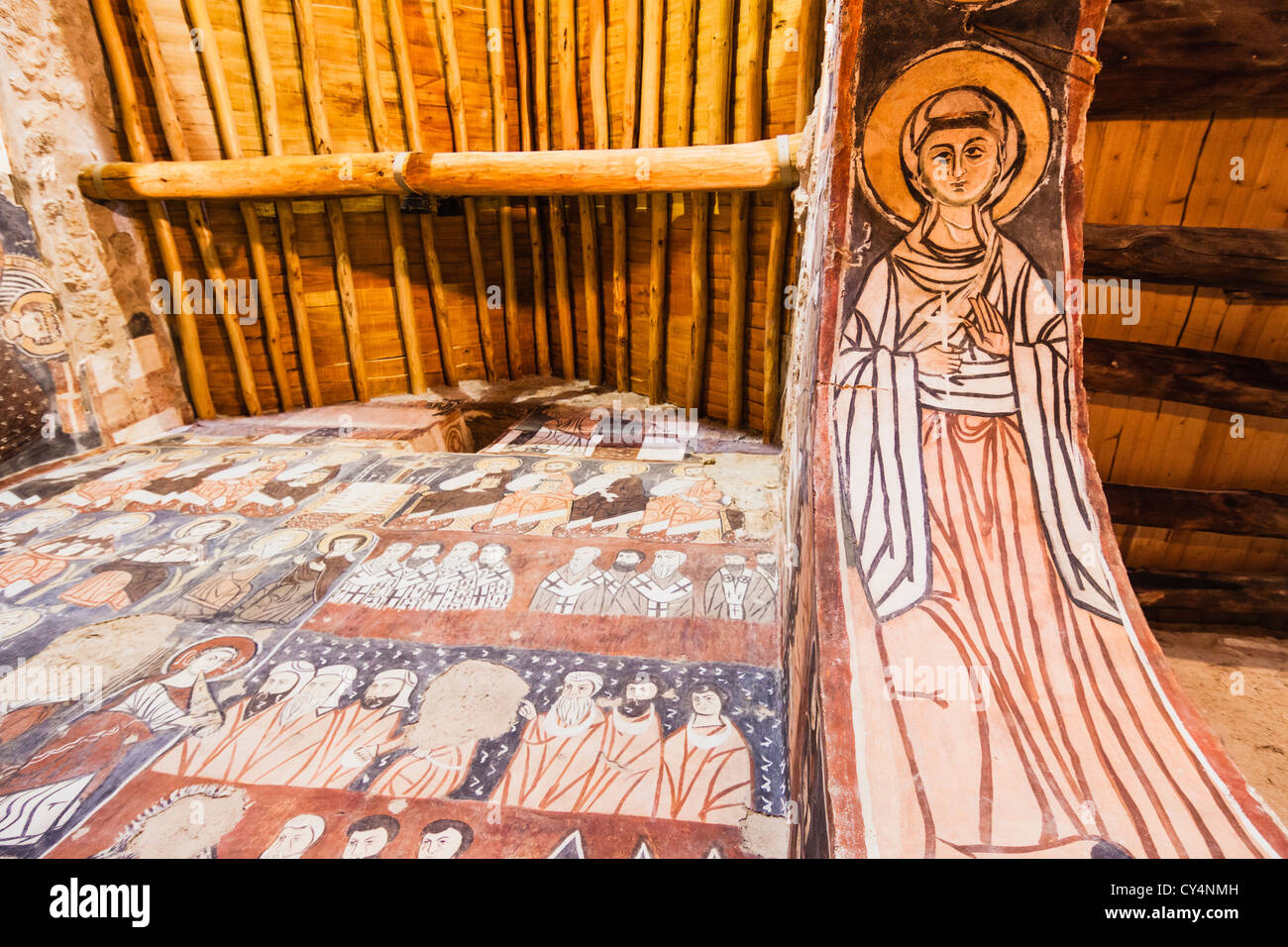 Frescoes at the church of the ecumenical Mar Musa Monastery - Stock Image