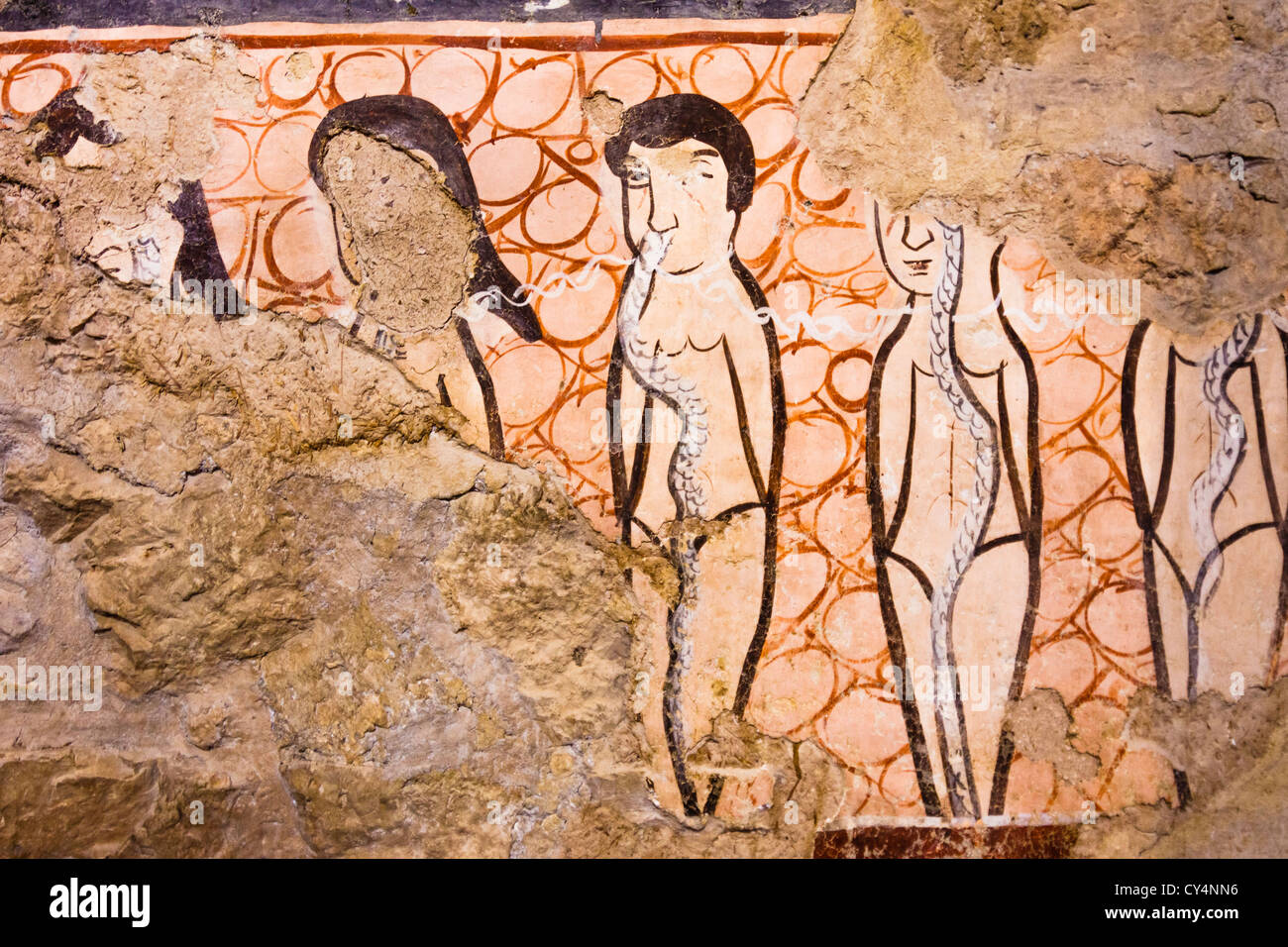 Frescoes at the church of Mar Musa Monastery, Syria - Stock Image