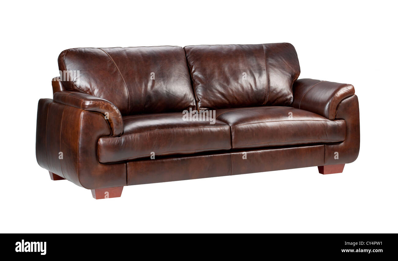 Brown luxury genuine leather sofa isolates on white background Stock Photo