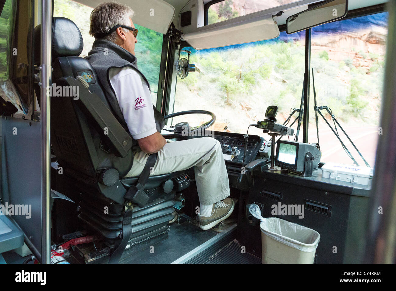 Shuttle driver in Zion National Park, Utah - Stock Image