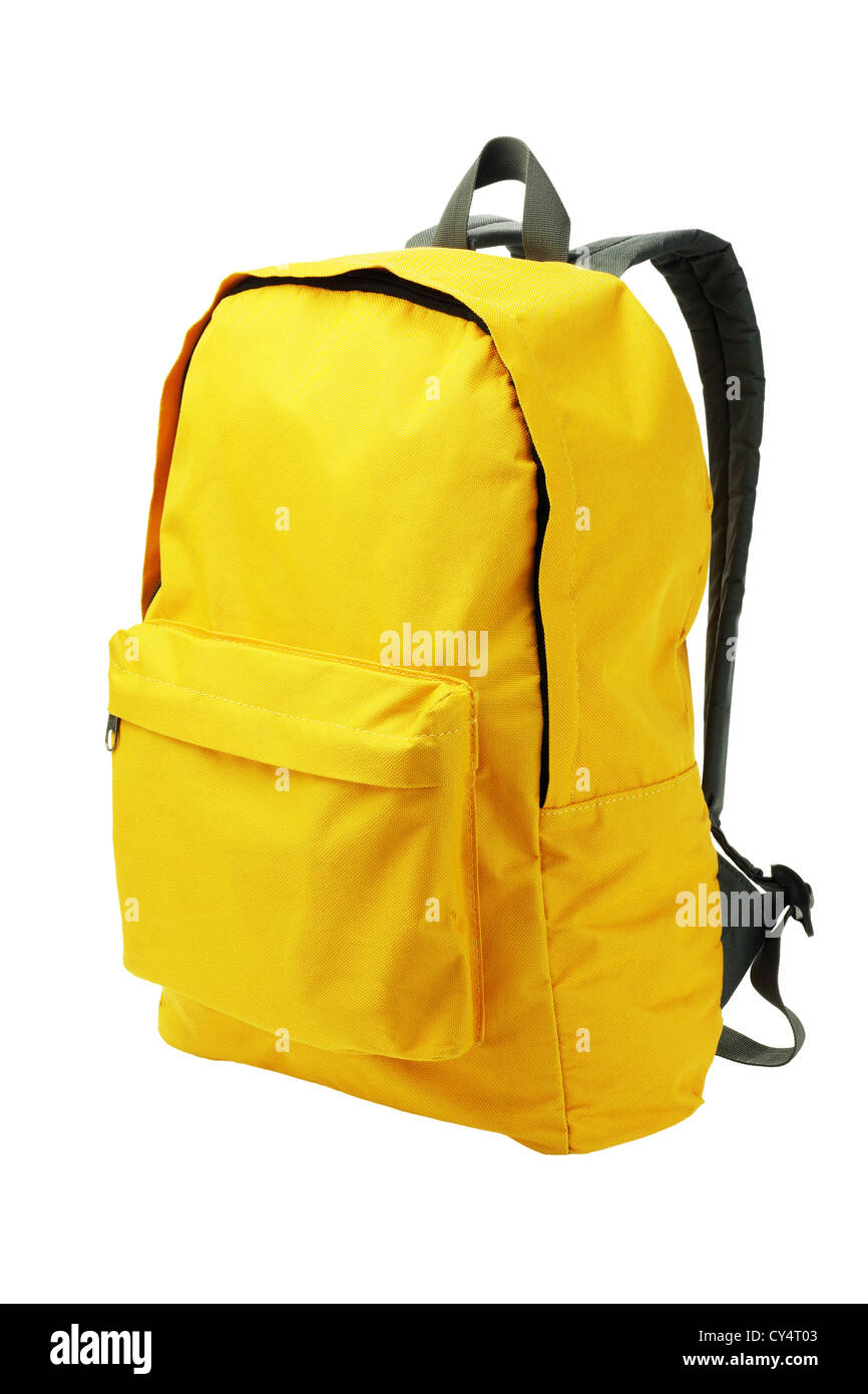 Yellow Backpack Standing on White Background - Stock Image