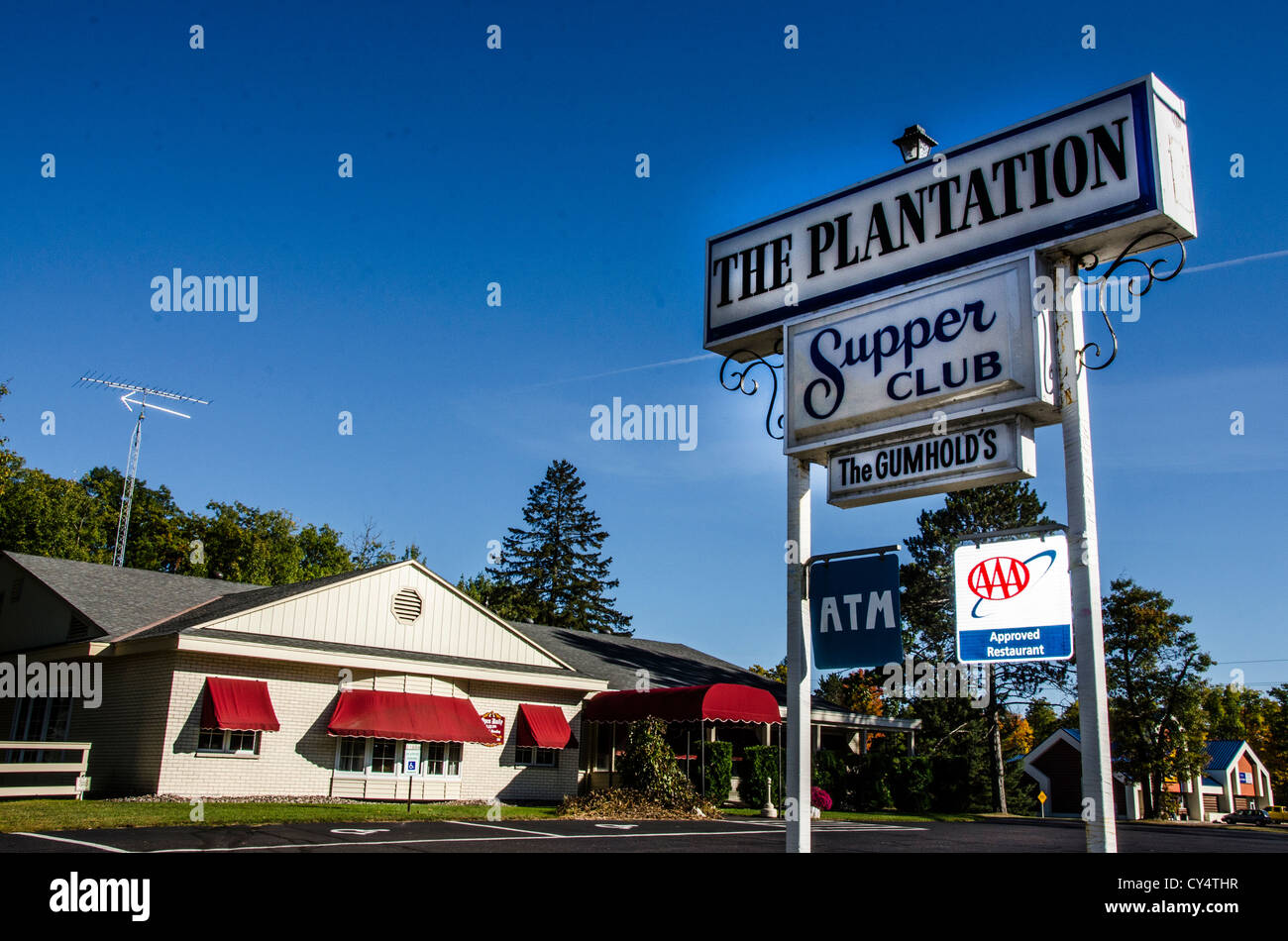The Plantation Supper Club in Arbor Vitae in the Northwoods area of Wisconsin. - Stock Image