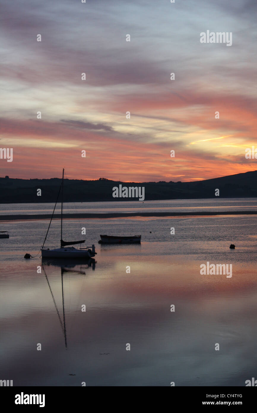 Sunrise over the Camel Estuary. Padstow. Cornwall Stock Photo