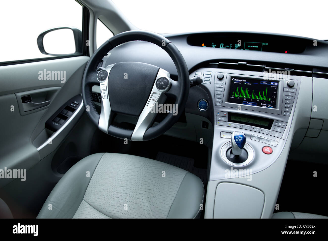 Modern car interior - leather seats and premium sound system. - Stock Image
