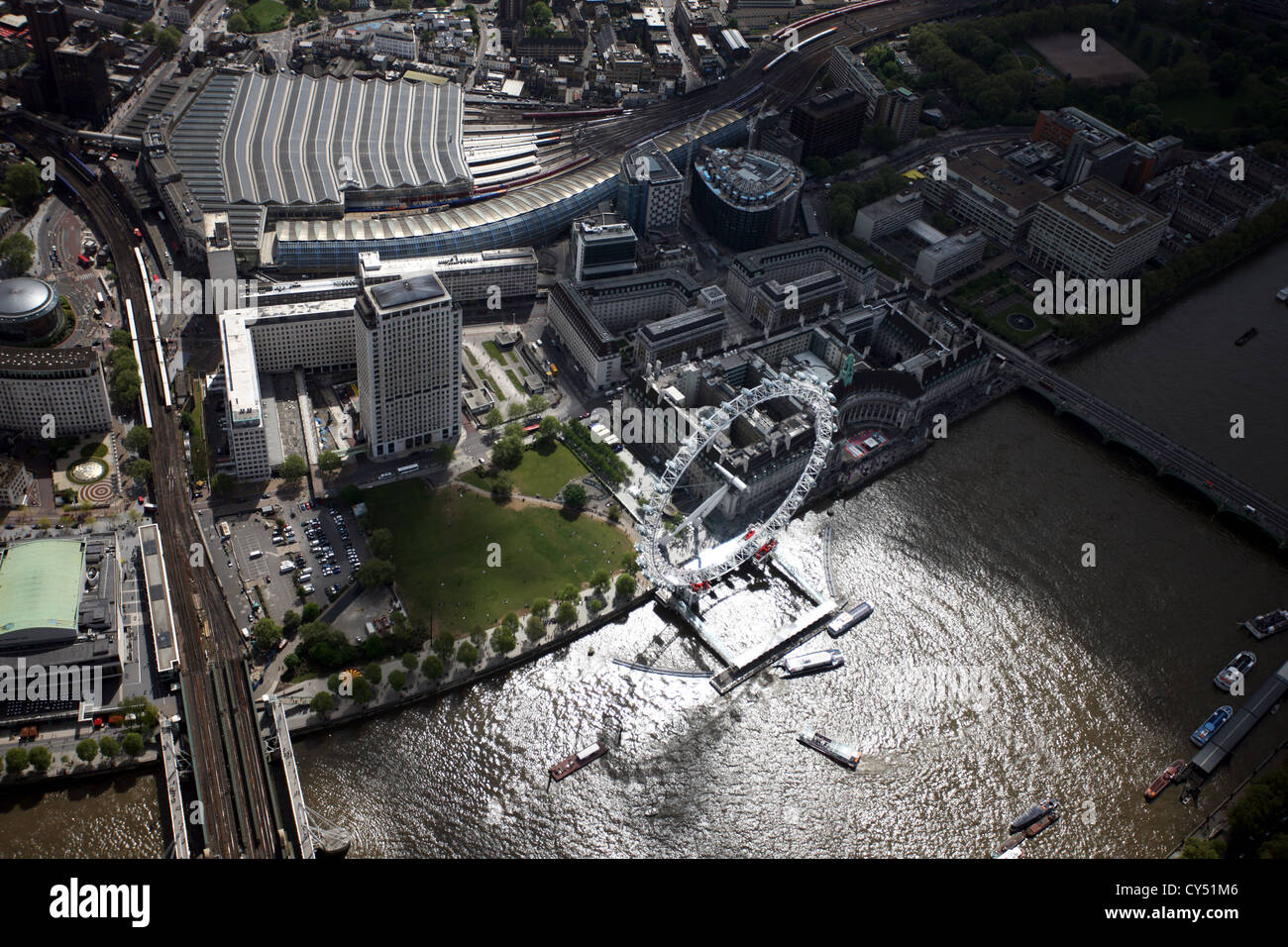 Aerial view of London Eye and Waterloo Station - Stock Image