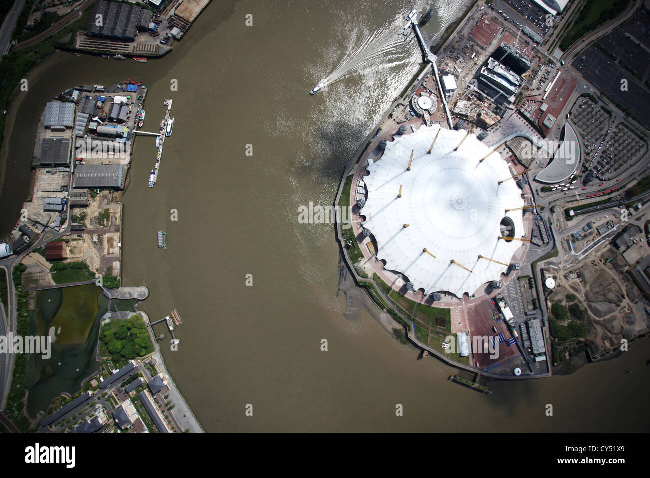 Aerial view of O2 Arena on the River Thames, London Stock Photo