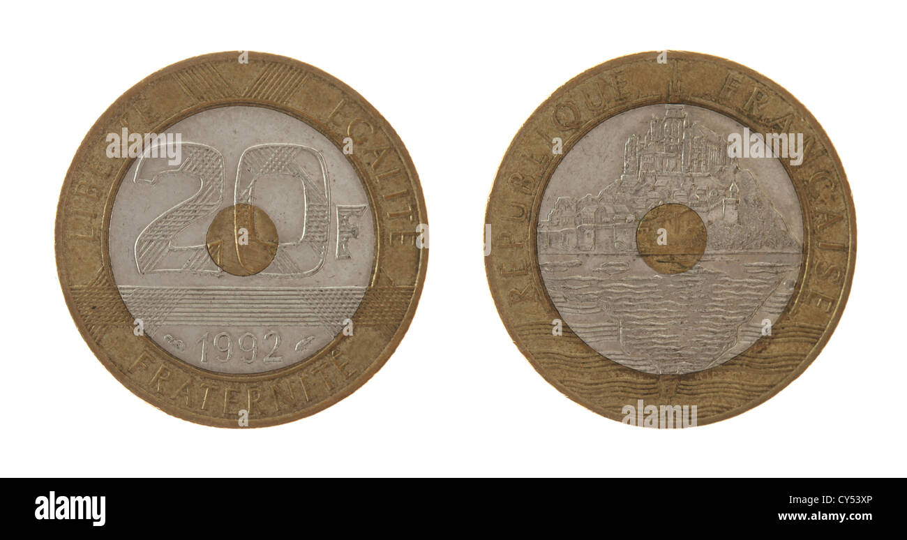 Old French 20 franc coin depicting Mont Saint Michel. Obverse and reverse isolated on white. - Stock Image