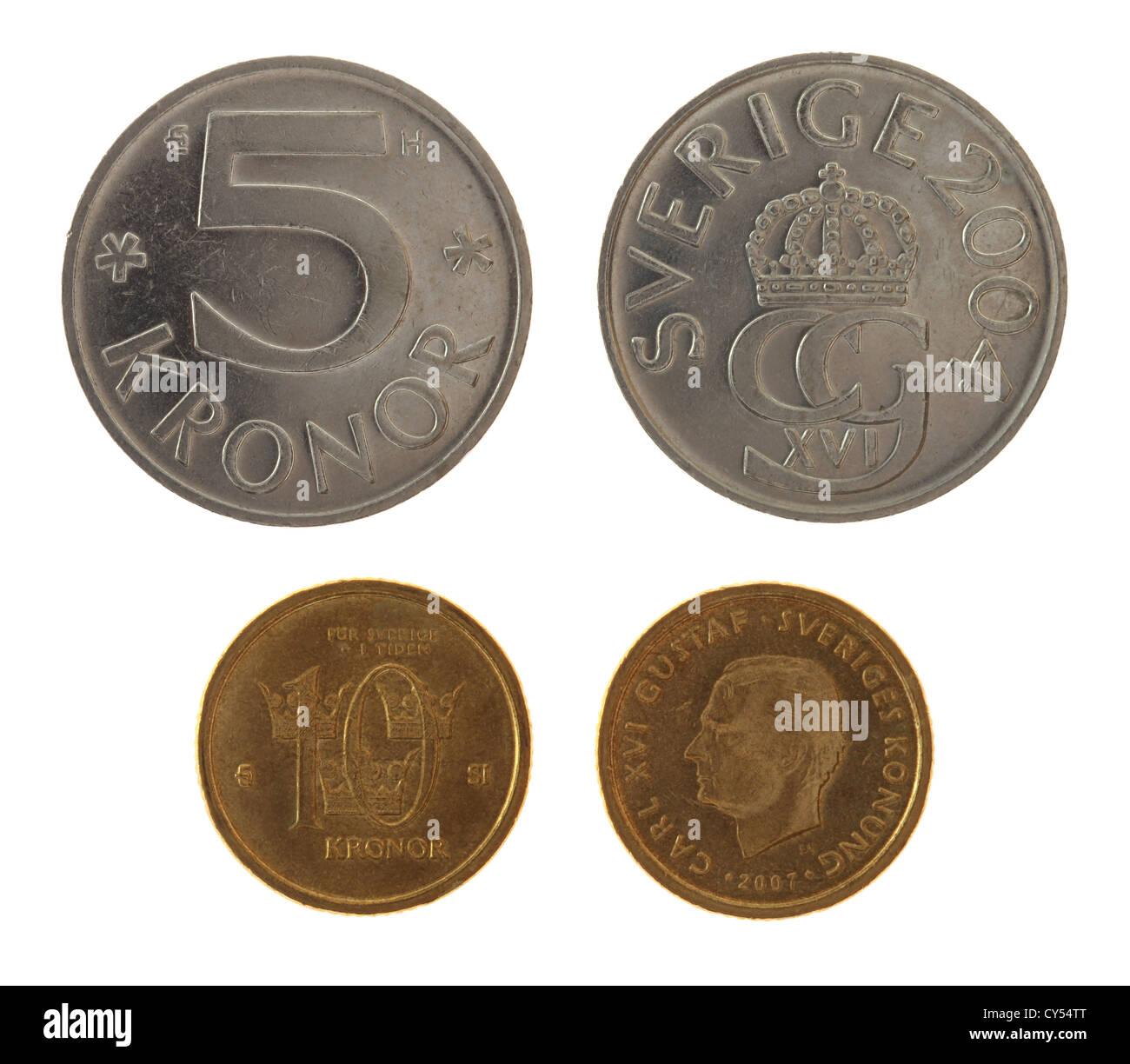 Swedish Krona Coins Depicting Carl Xvi Gustaf Of Sweden Obverse And