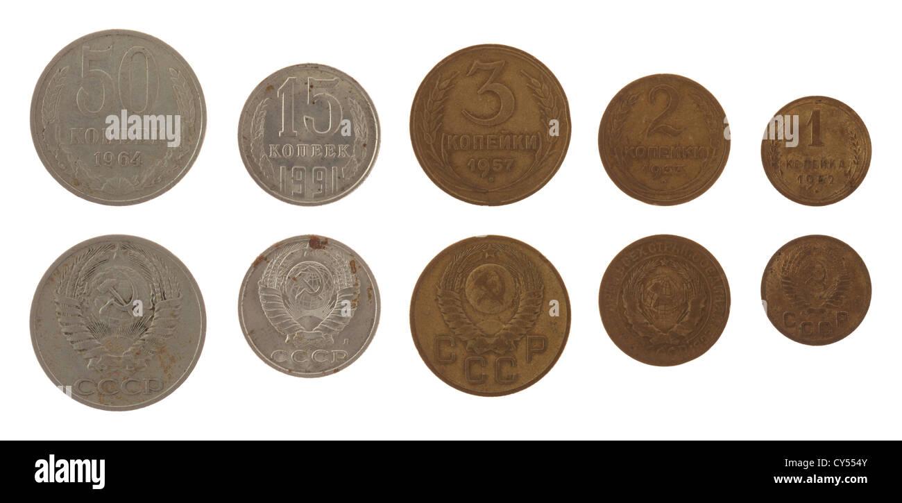 Old Soviet kopek coins isolated on white - Stock Image