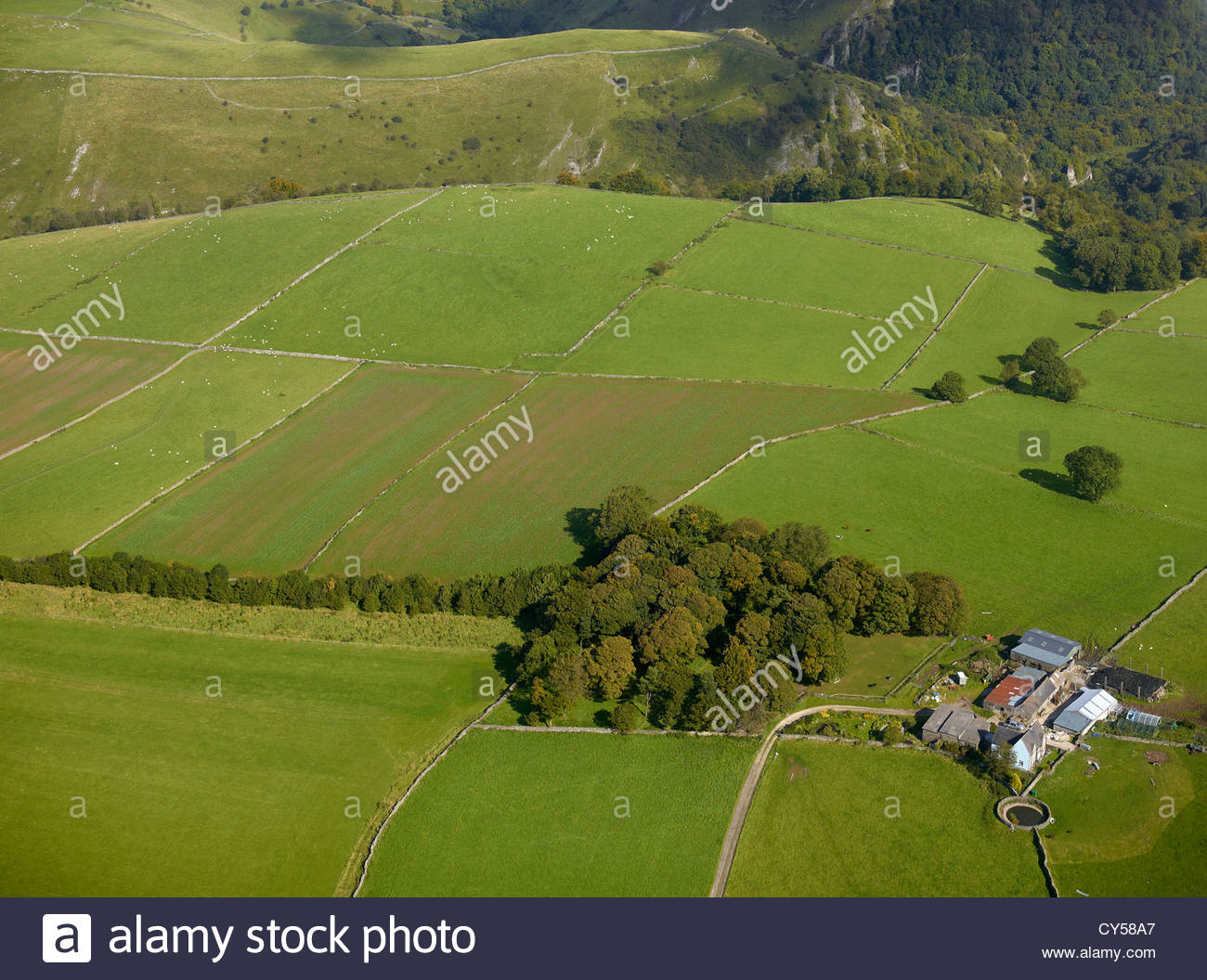 Field Patterns in the Peak District National Park, Derbyshire, Northern England, UK, from the Air Stock Photo